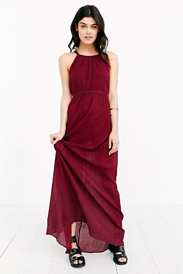 Lyst Band Of Gypsies Grecian High Neck Crepe Maxi Dress In Purple