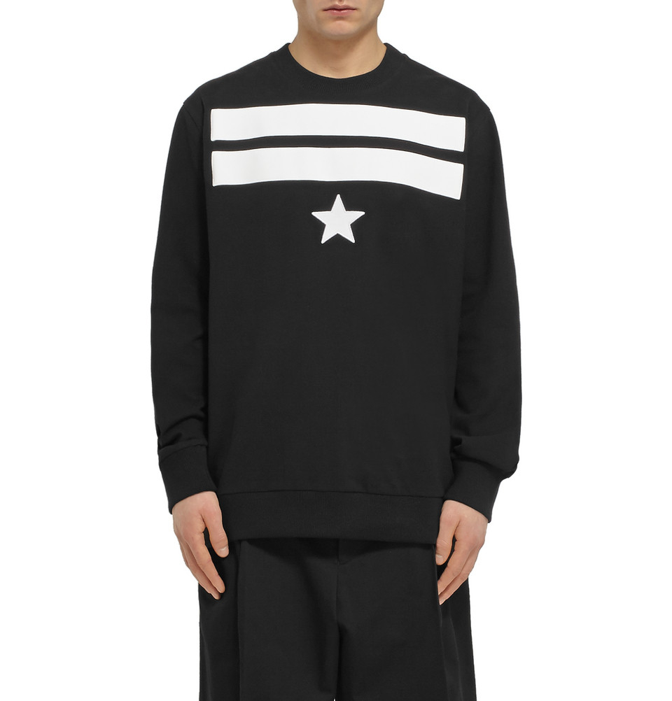 givenchy star and stripe detailed cotton sweater in black for men lyst. Black Bedroom Furniture Sets. Home Design Ideas