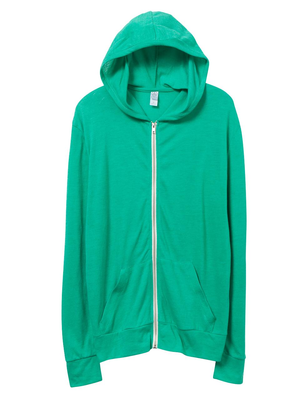 Alternative Apparel Basic Eco Jersey Zip Hoodie In Green