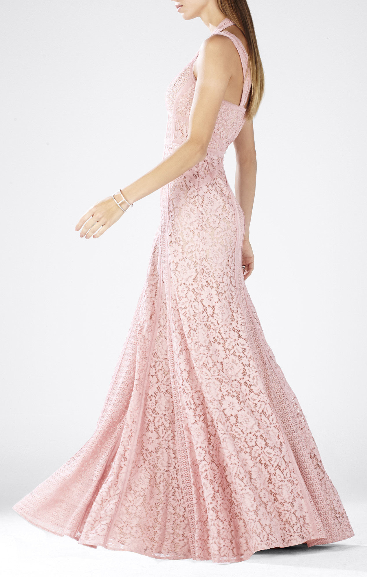 Bcbgmaxazria Sonya Sleeveless Lace Blocked Gown In Pink Lyst
