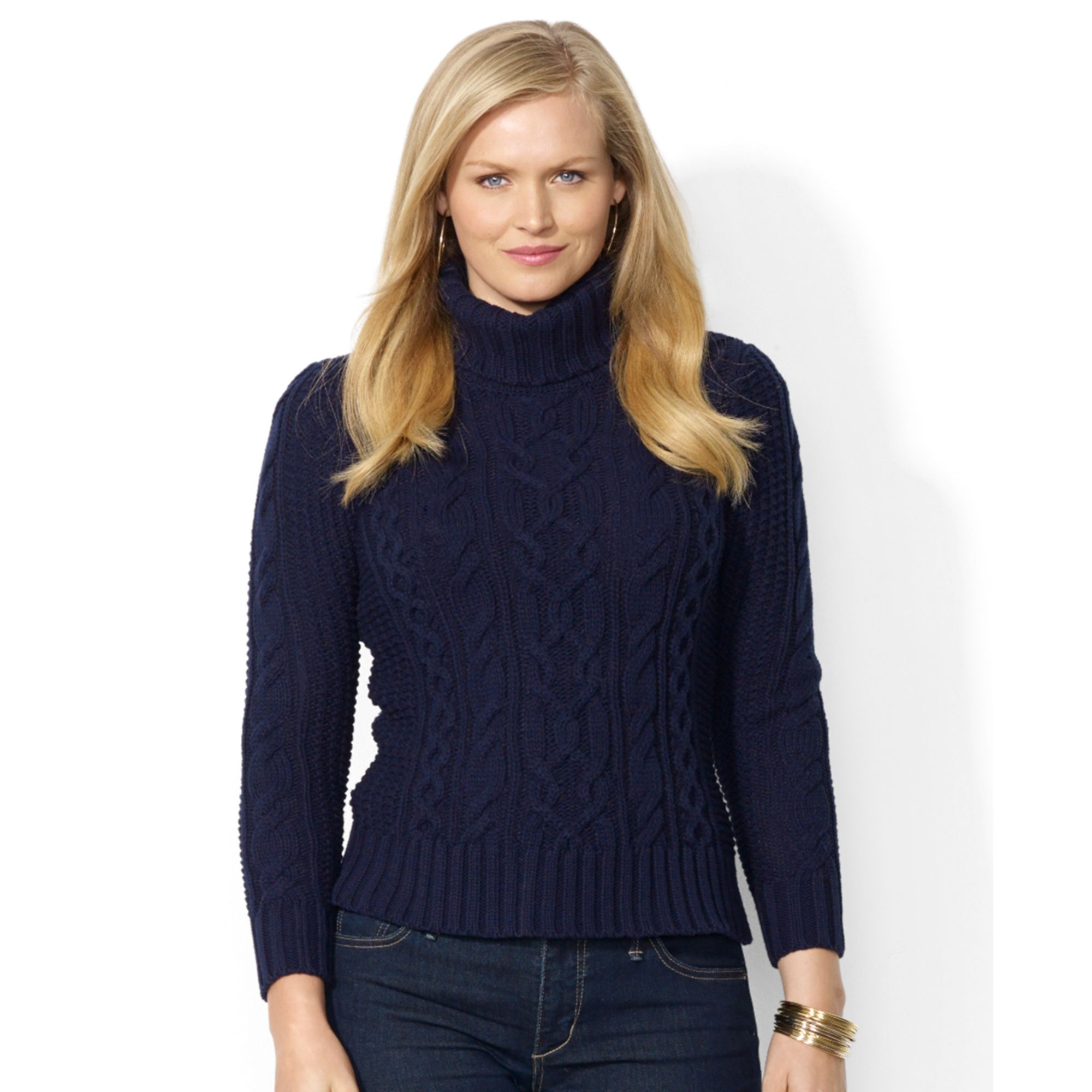 Lauren by ralph lauren Plus Size Cable-knit Turtleneck Sweater in ...