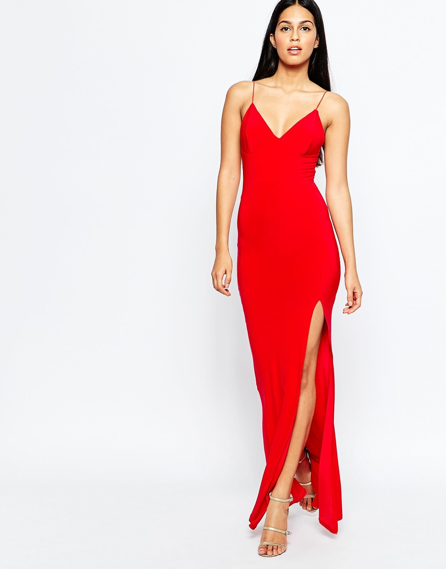7d3a549e4f Club L Slinky Fishtail Maxi Dress in Red - Lyst