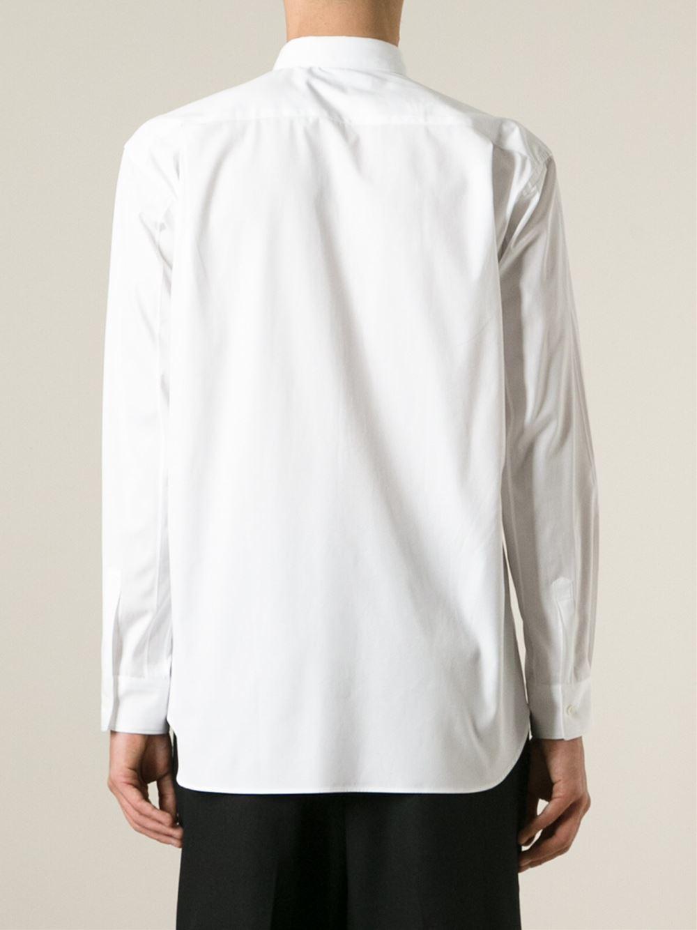 comme des gar ons printed ruffled shirt in white for men. Black Bedroom Furniture Sets. Home Design Ideas