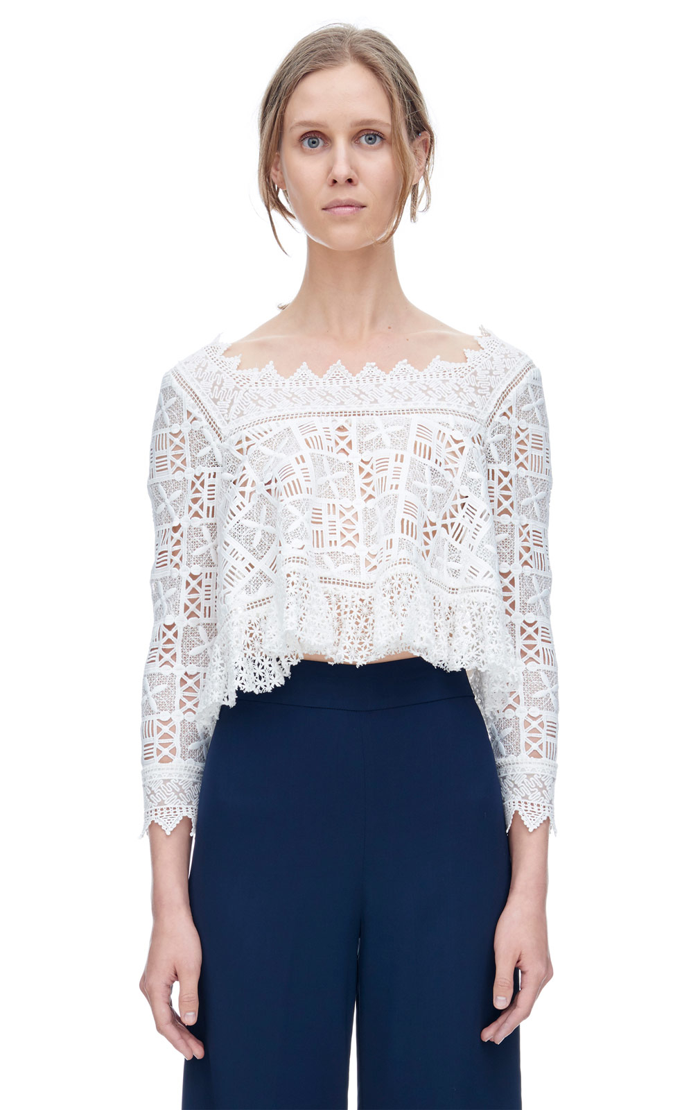 a507952e0df69 Lyst - Rebecca Taylor Long Sleeve Crochet Lace Top in White