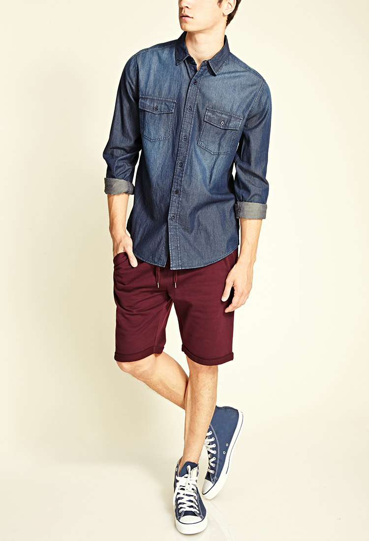 Forever 21 French Terry Knit Shorts in Red for Men   Lyst