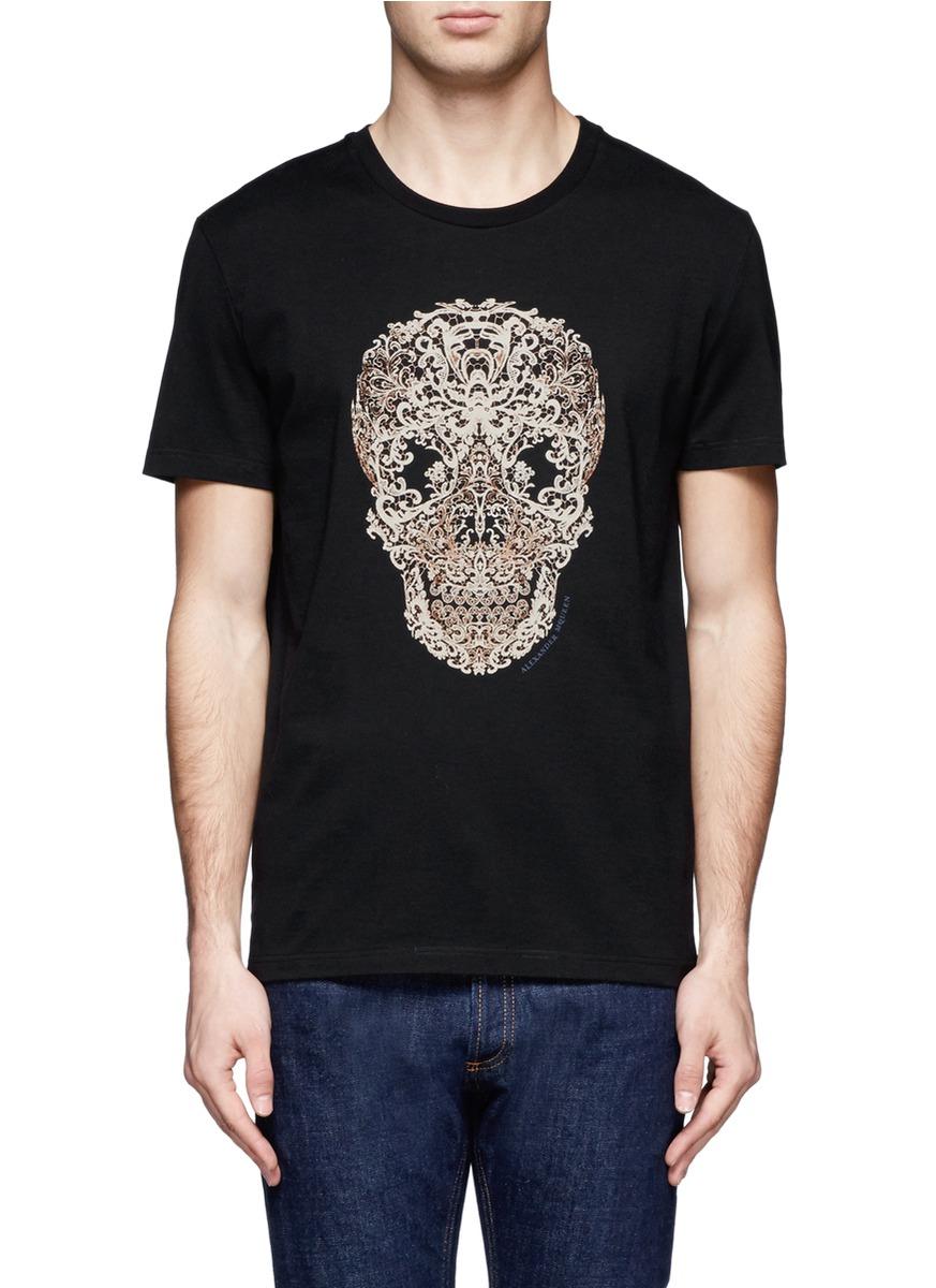 Lyst alexander mcqueen lace skull print short sleeve t for Alexander mcqueen shirt men
