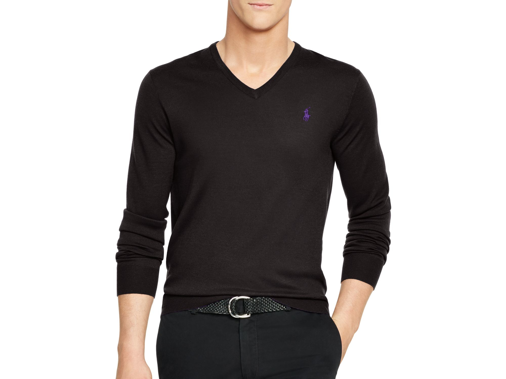 21a6d6a5f5948 Lyst - Polo Ralph Lauren Slim-fit Merino V-neck Sweater in Black for Men