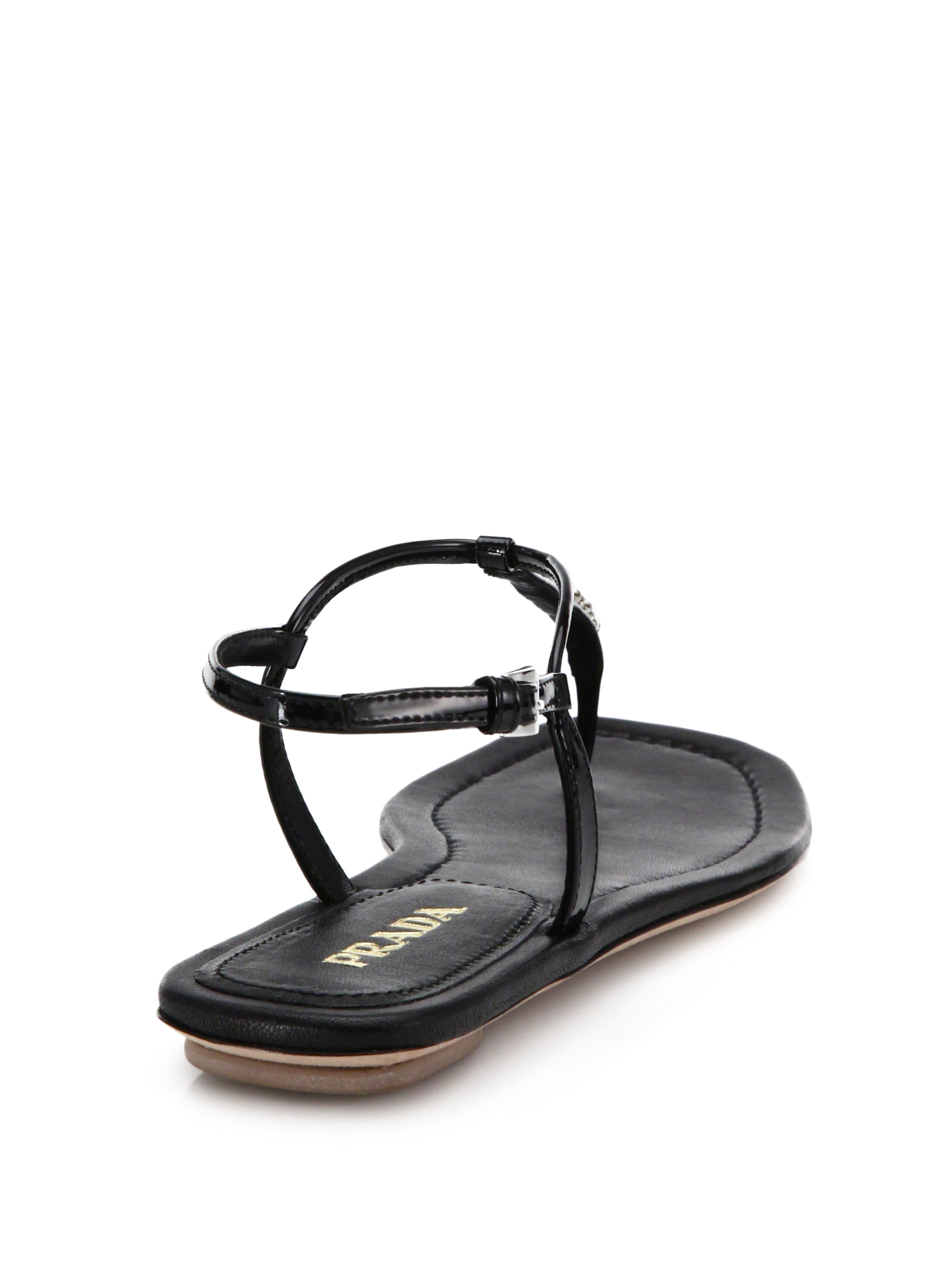 82221965e Lyst - Prada Swarovski Crystal Flat Leather Sandals in Black