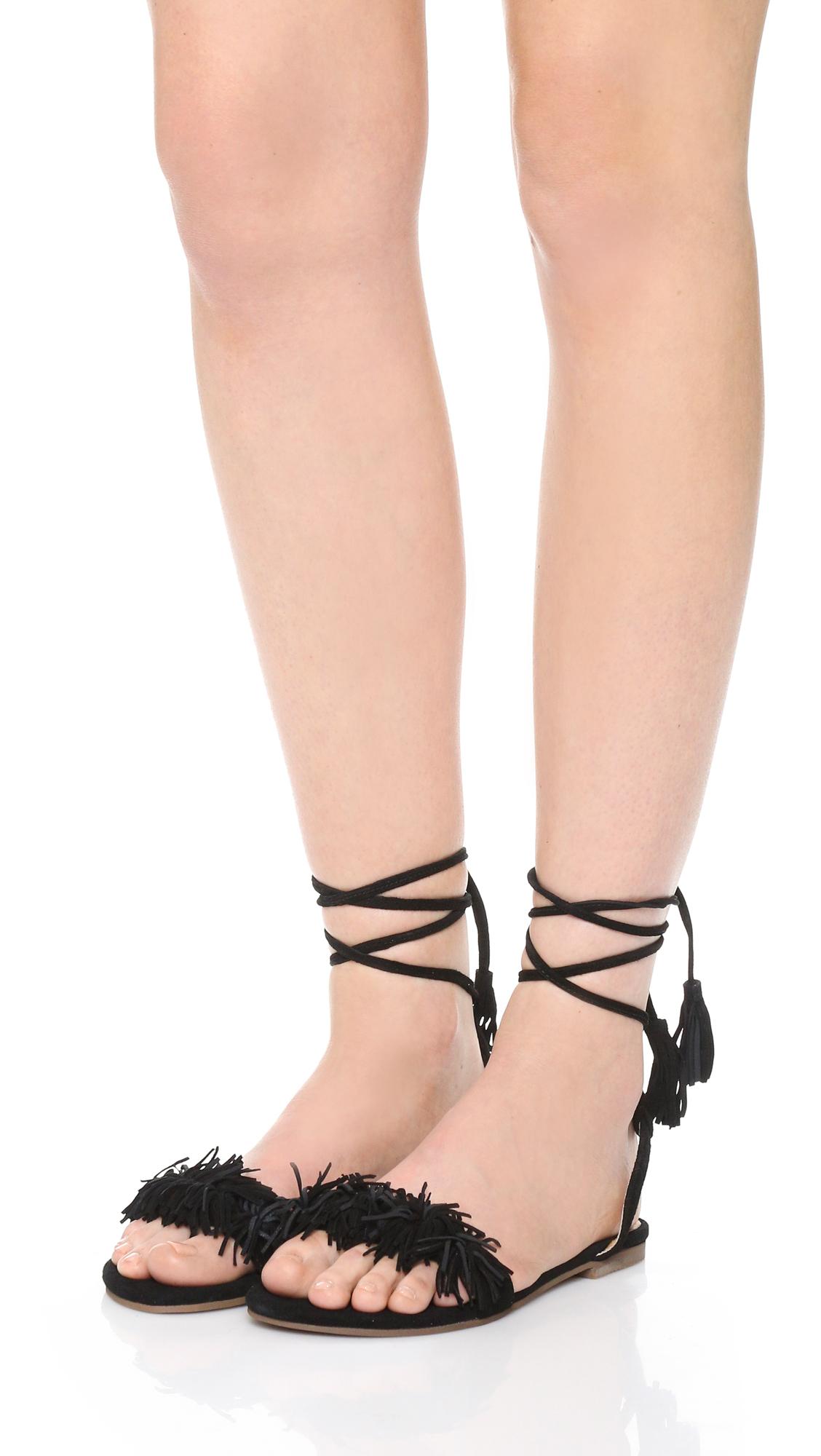 20f542c269f Matiko Delilah Fringe Flat Sandals in Black - Lyst