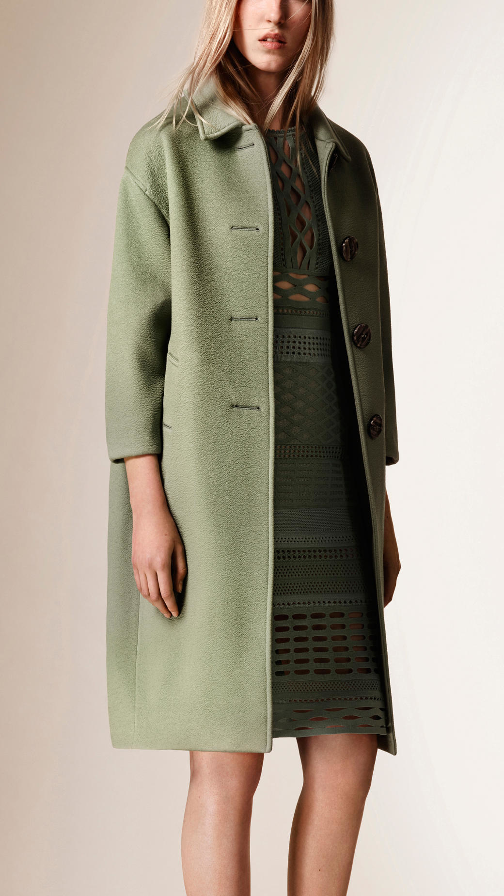 Burberry Unlined Cashmere Coat in Green | Lyst