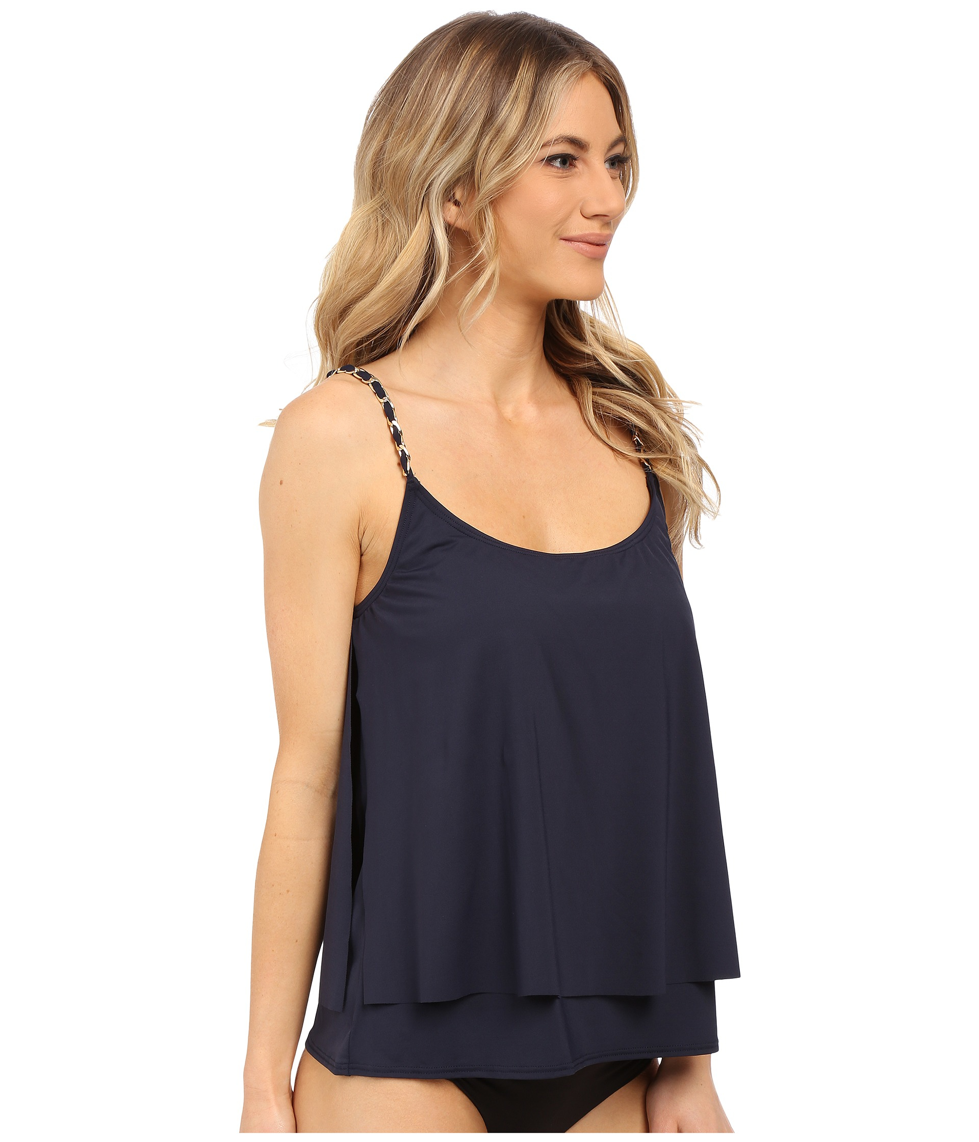 0cfdbf6cc020e MICHAEL Michael Kors Chain Solids Layered Tankini Top in Blue - Lyst