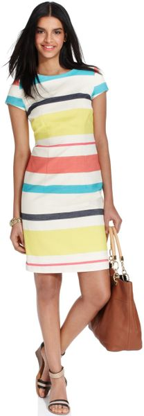 Tommy Hilfiger Short Sleeve Striped Dress In Multicolor