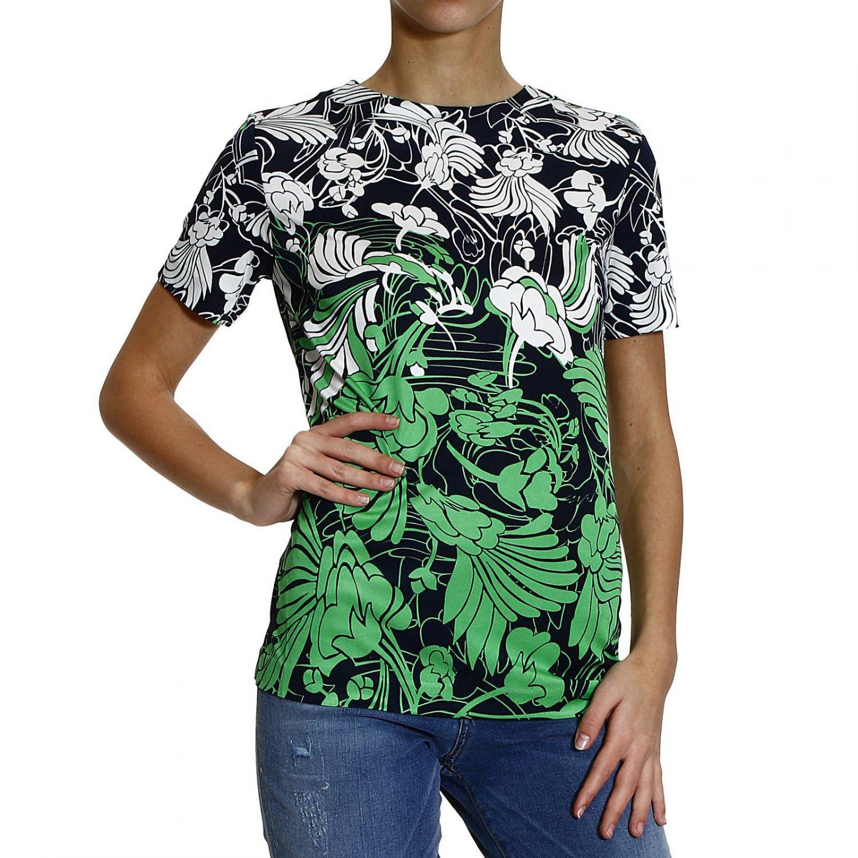 Miu miu t shirt flower printed organza crew neck half for Miu miu t shirt