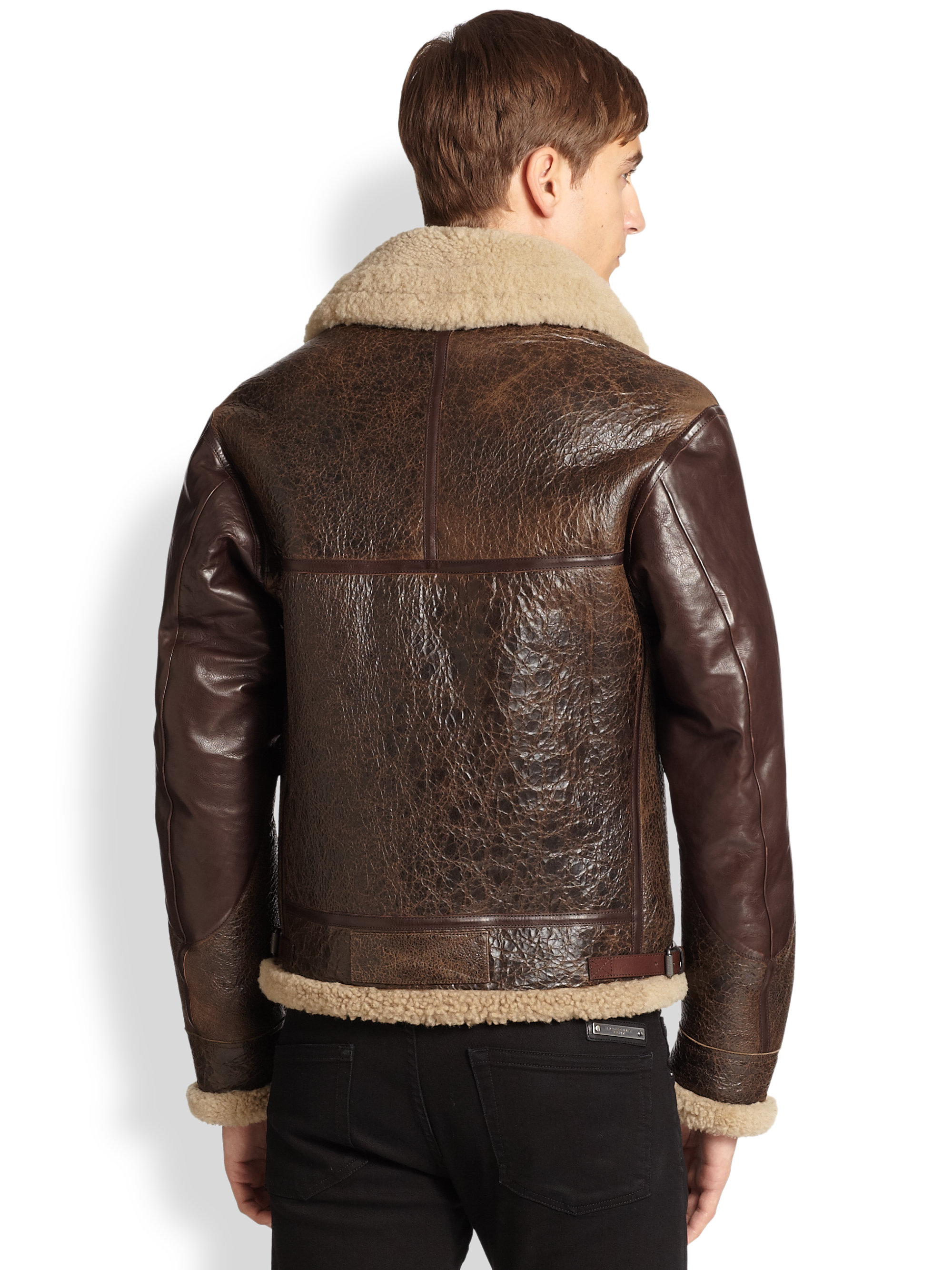 burberry brit ormsby leather shearling aviator jacket in brown for men lyst. Black Bedroom Furniture Sets. Home Design Ideas