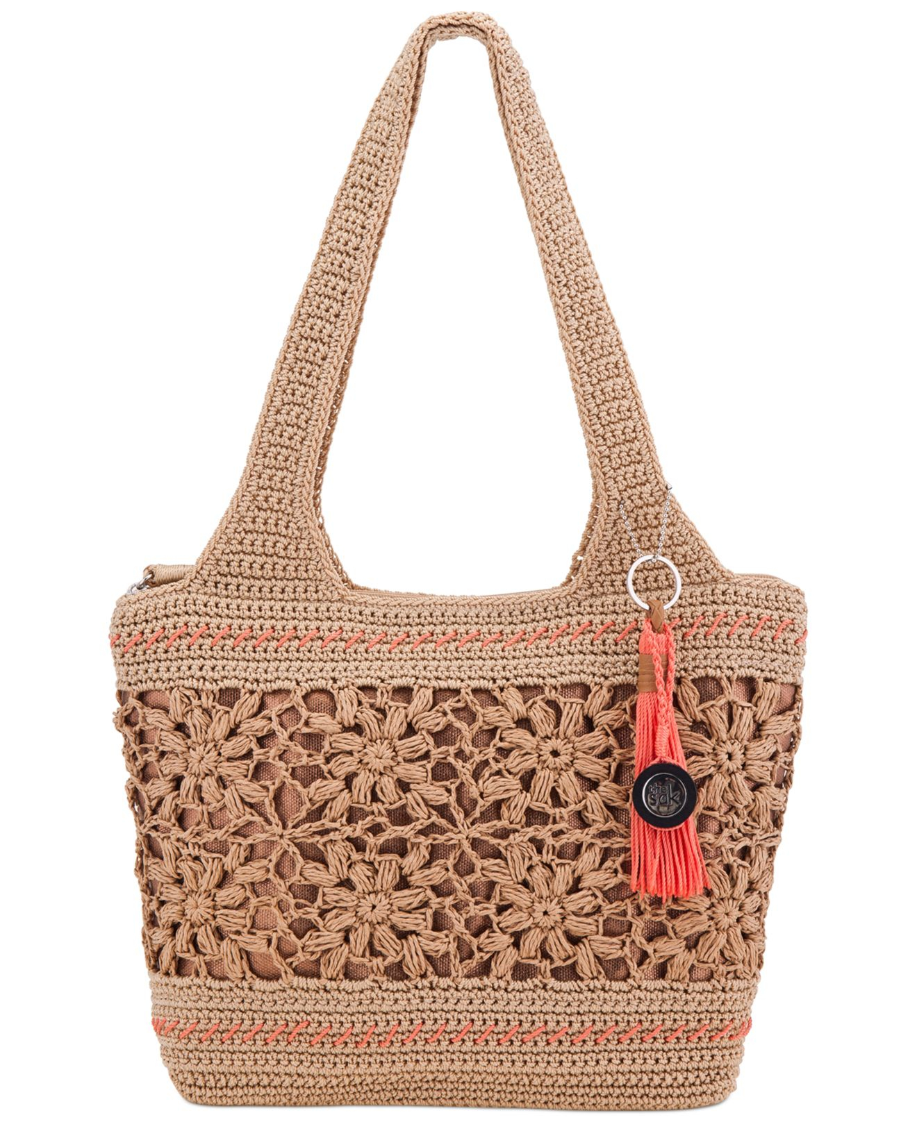 The sak Casual Classics Large Crochet Tote in Beige (Natural Floral ...