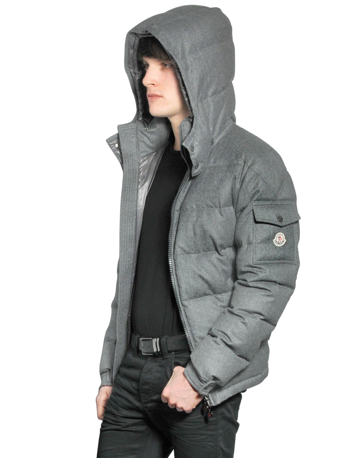moncler montgenevre light flannel down jacket in gray for men medium grey lyst. Black Bedroom Furniture Sets. Home Design Ideas