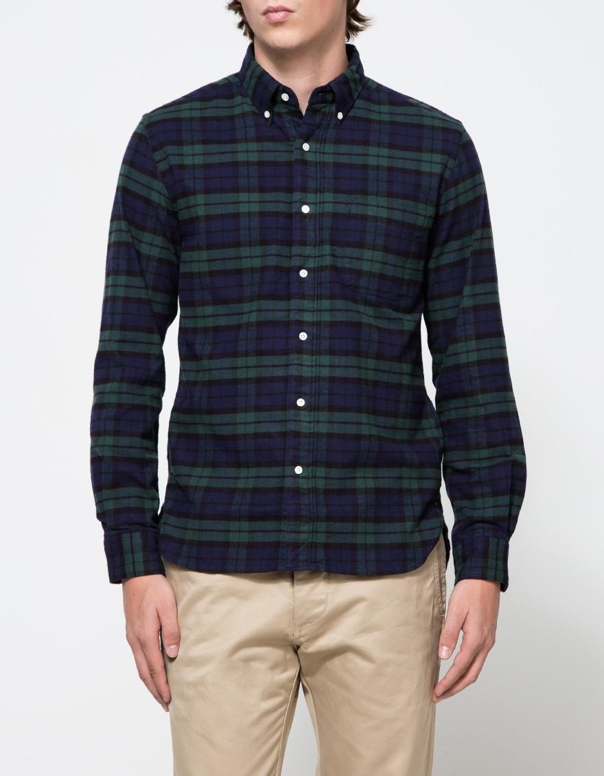 Beams plus b bd flannel b w in black for men lyst for Black watch flannel shirt