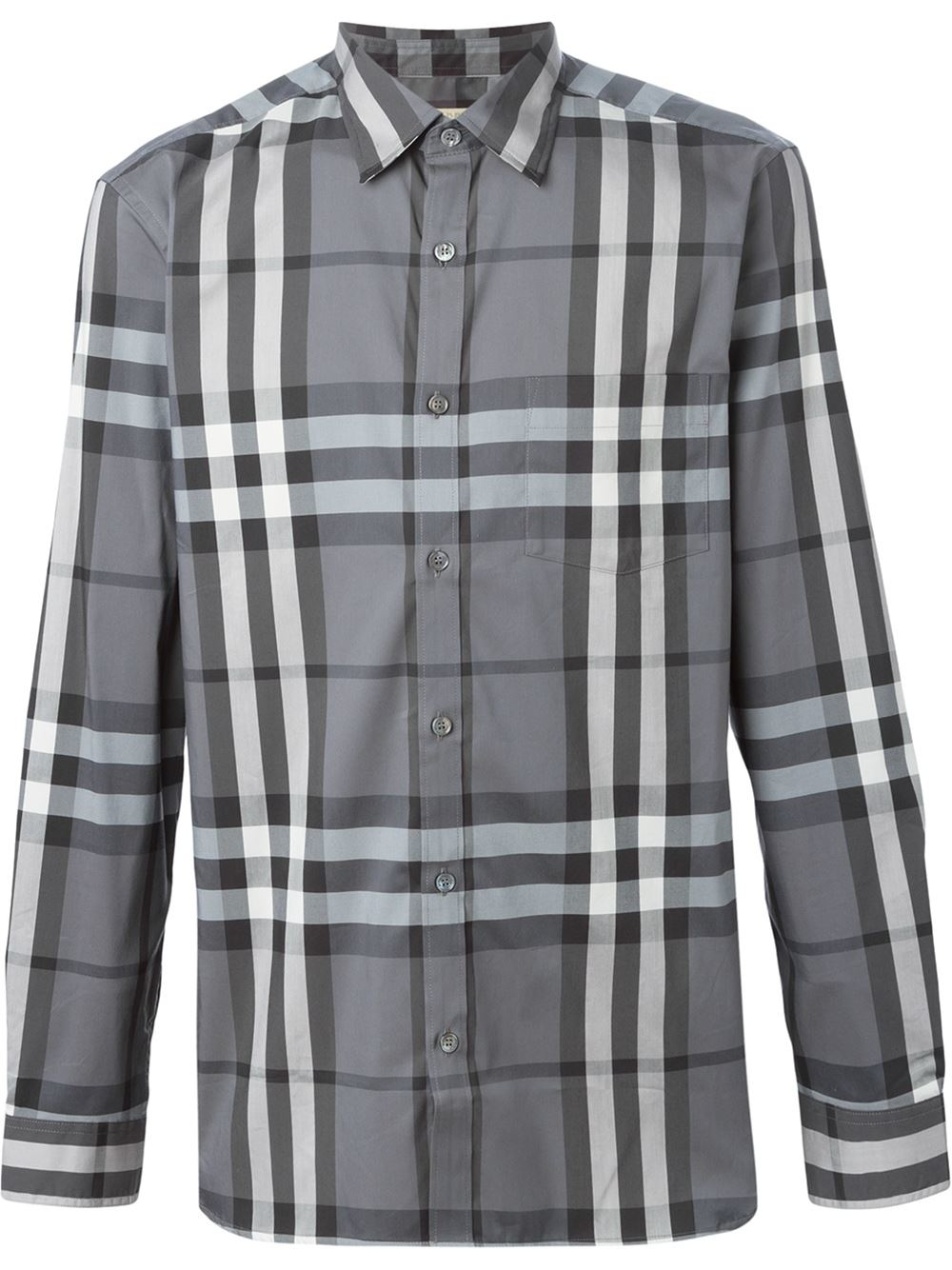 Burberry checked shirt in white for men grey lyst for Burberry brit checked shirt