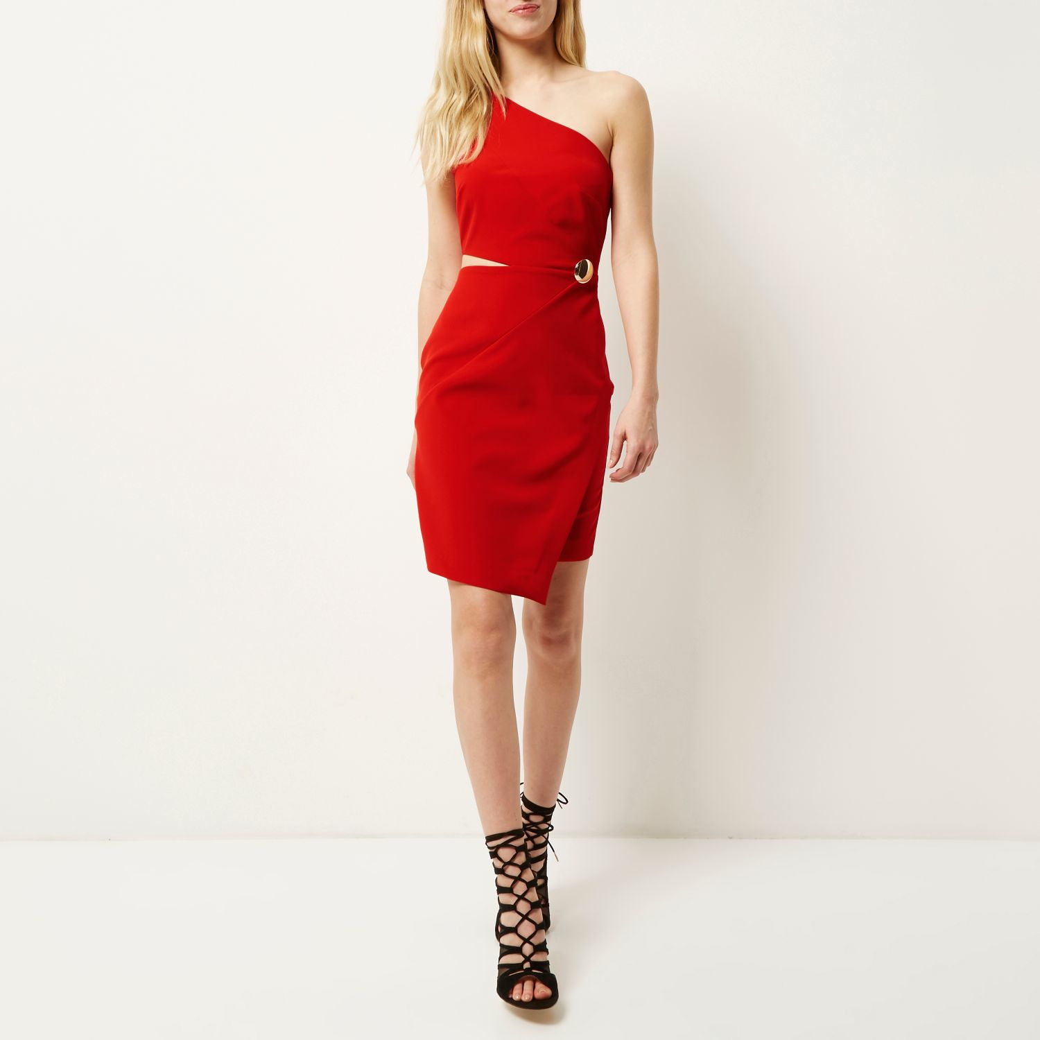 dbd7b9527e4 Lyst - River Island Red One Shoulder Cut-out Bodycon Dress in Red