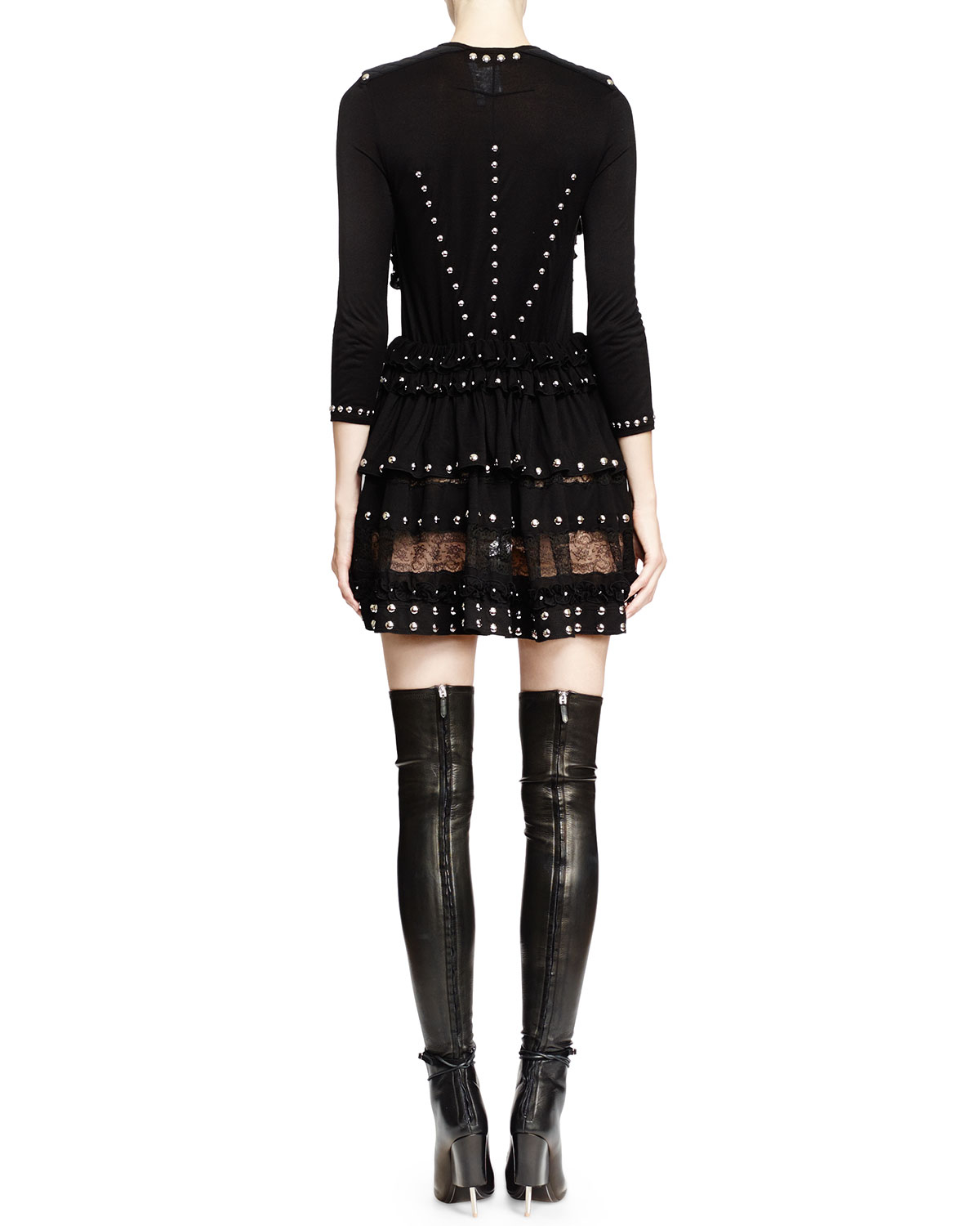 d28ed5e3ba31 Givenchy Studded Lace-inset Mini Dress in Black - Lyst