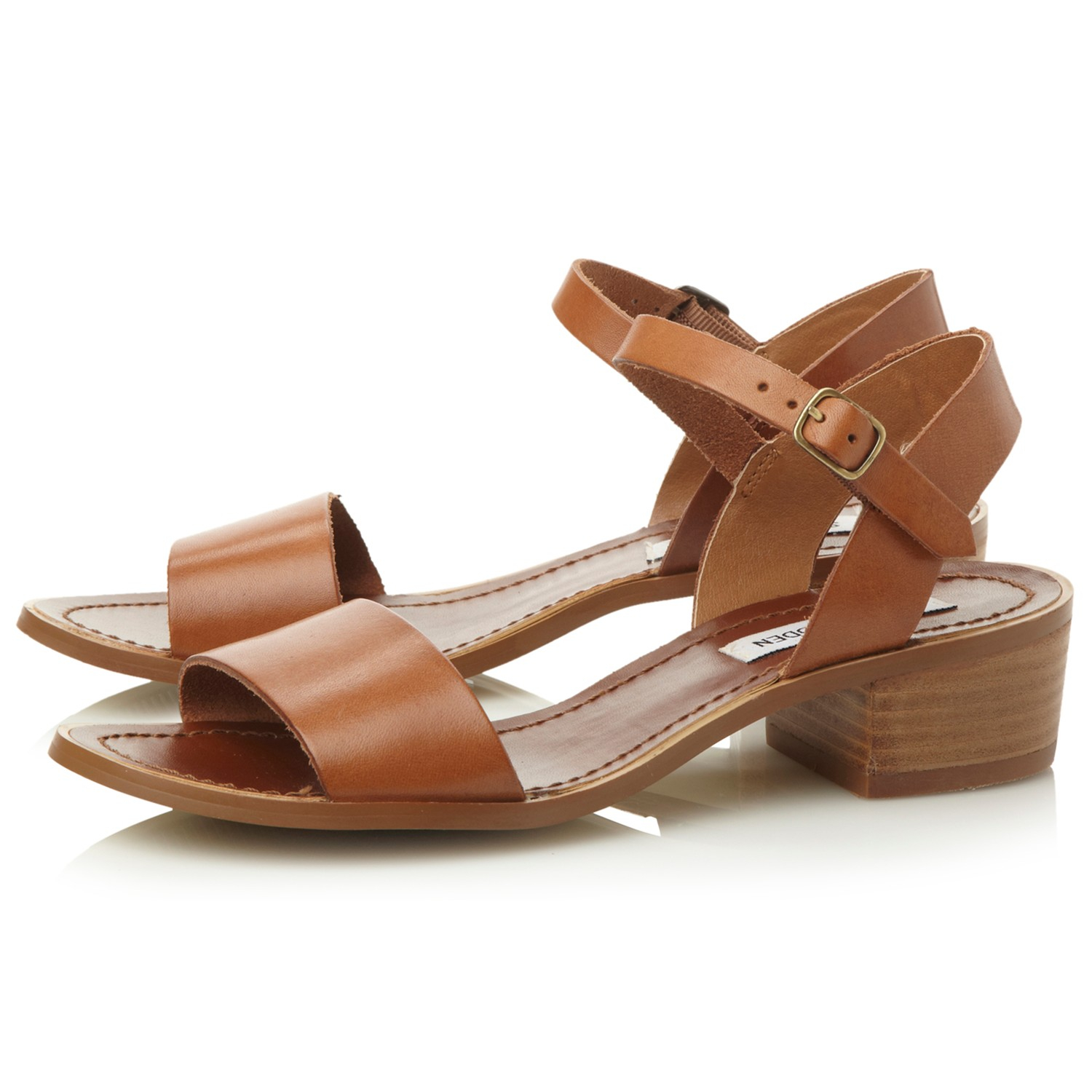 a2e523e88b4 Steve Madden Dense Leather Block Heel Sandals in Brown - Lyst
