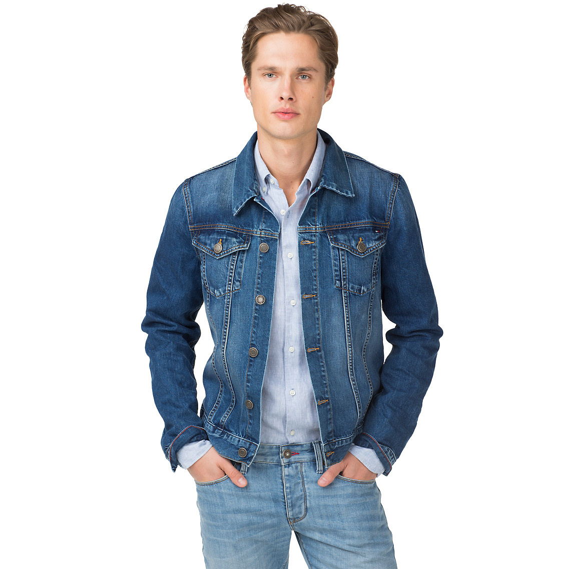 tommy hilfiger tommy denim jacket in blue for men lyst. Black Bedroom Furniture Sets. Home Design Ideas