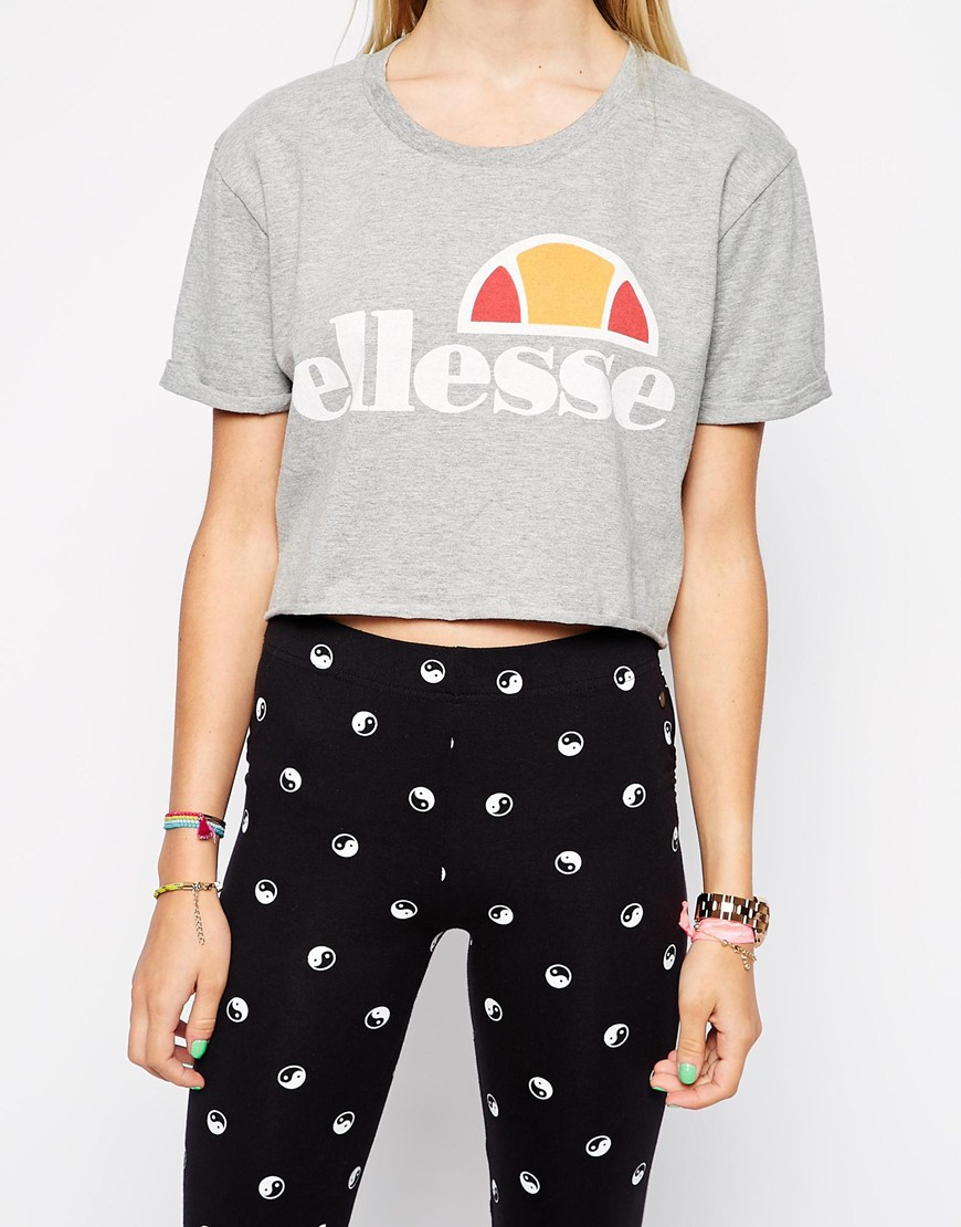 Lyst Ellesse Cropped T Shirt In Gray