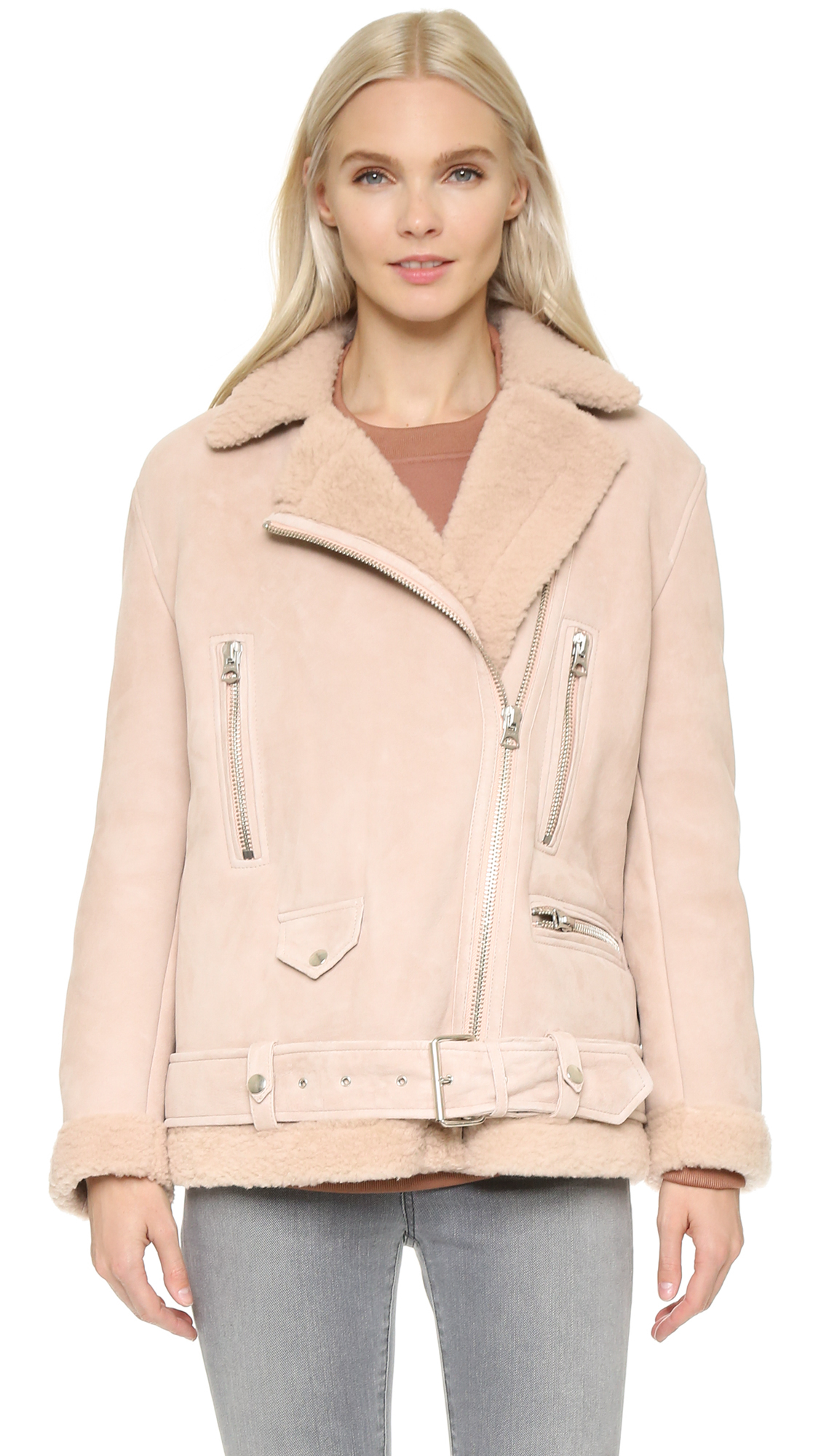Acne studios More Shearling Jacket - Powder Pink in Natural | Lyst