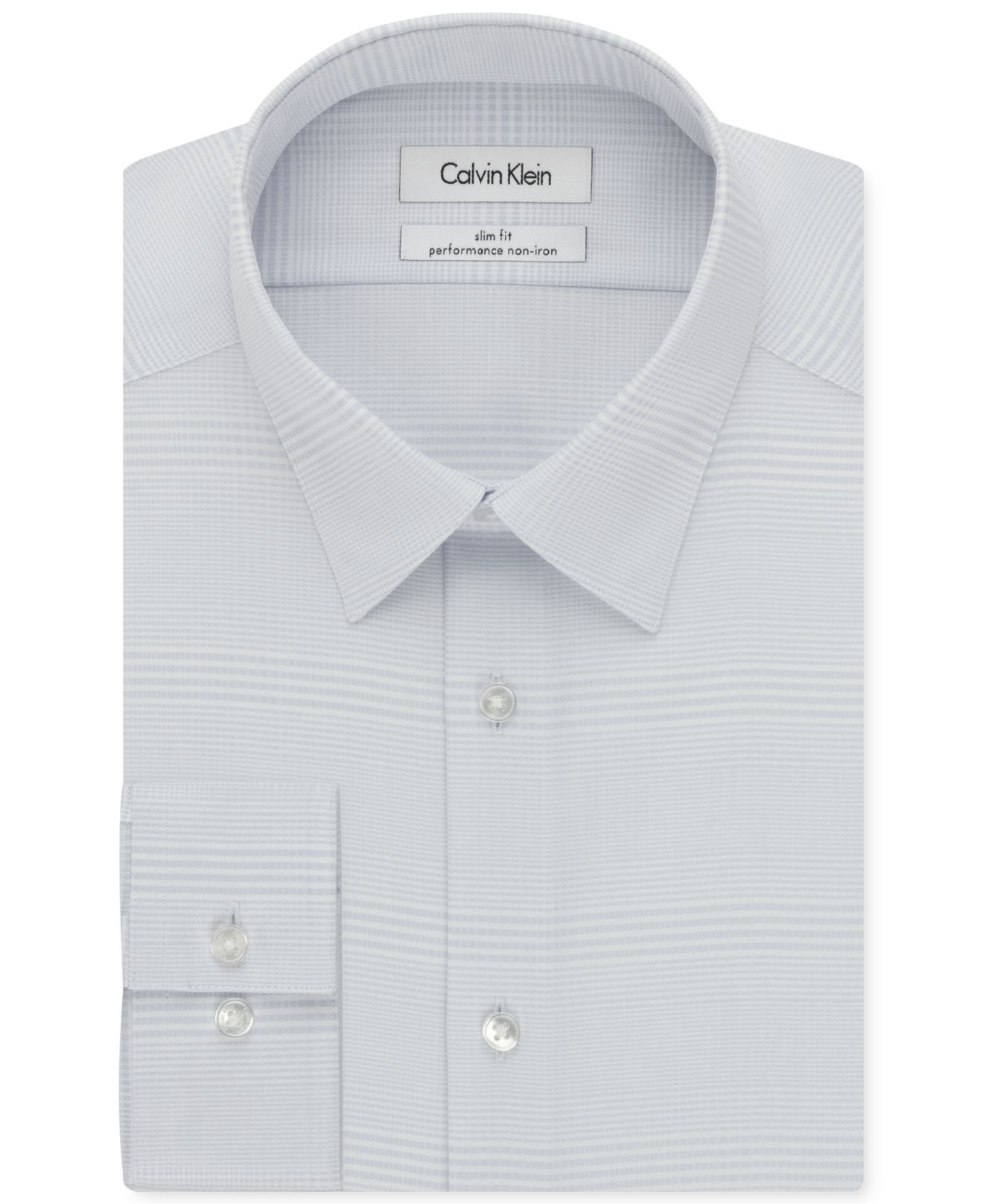 Calvin klein steel non iron slim fit check performance for No iron slim fit dress shirts