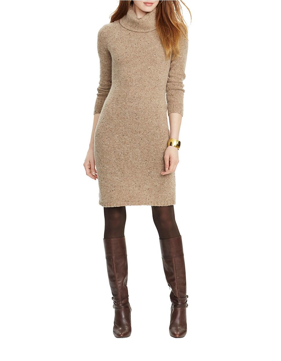 3f0026b80ed8 Lauren By Ralph Lauren Petite Turtleneck Sweater Dress in Natural - Lyst
