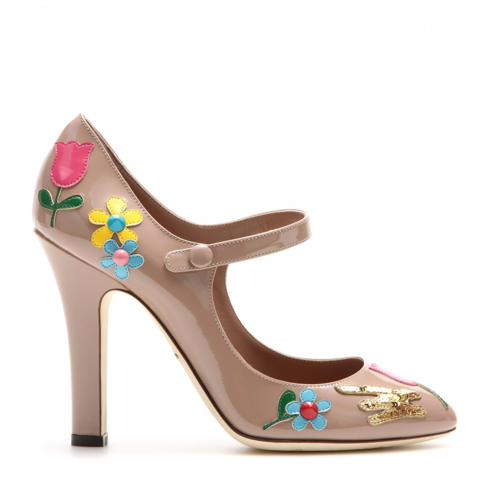 e37827ed52 Dolce & Gabbana Embellished Patent Leather Mary Jane Pumps in Brown ...