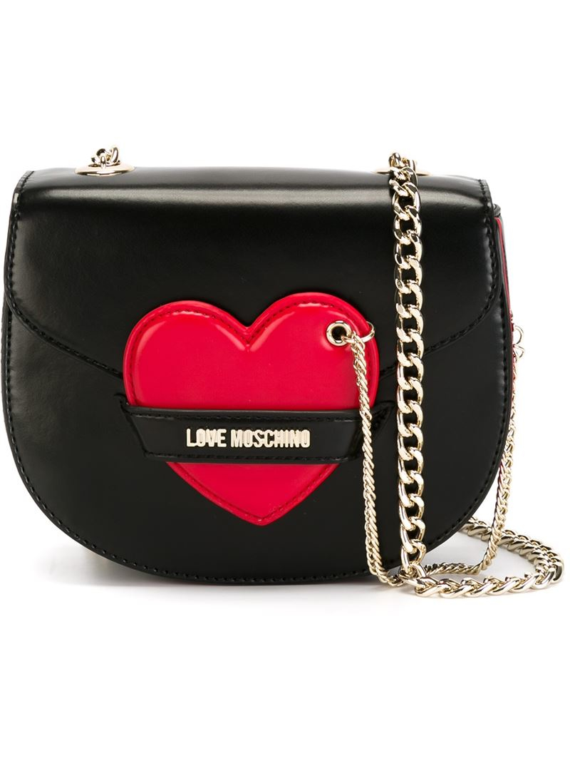 f95ee14d3ad35 Lyst - Love Moschino Heart Detail Shoulder Bag in Black