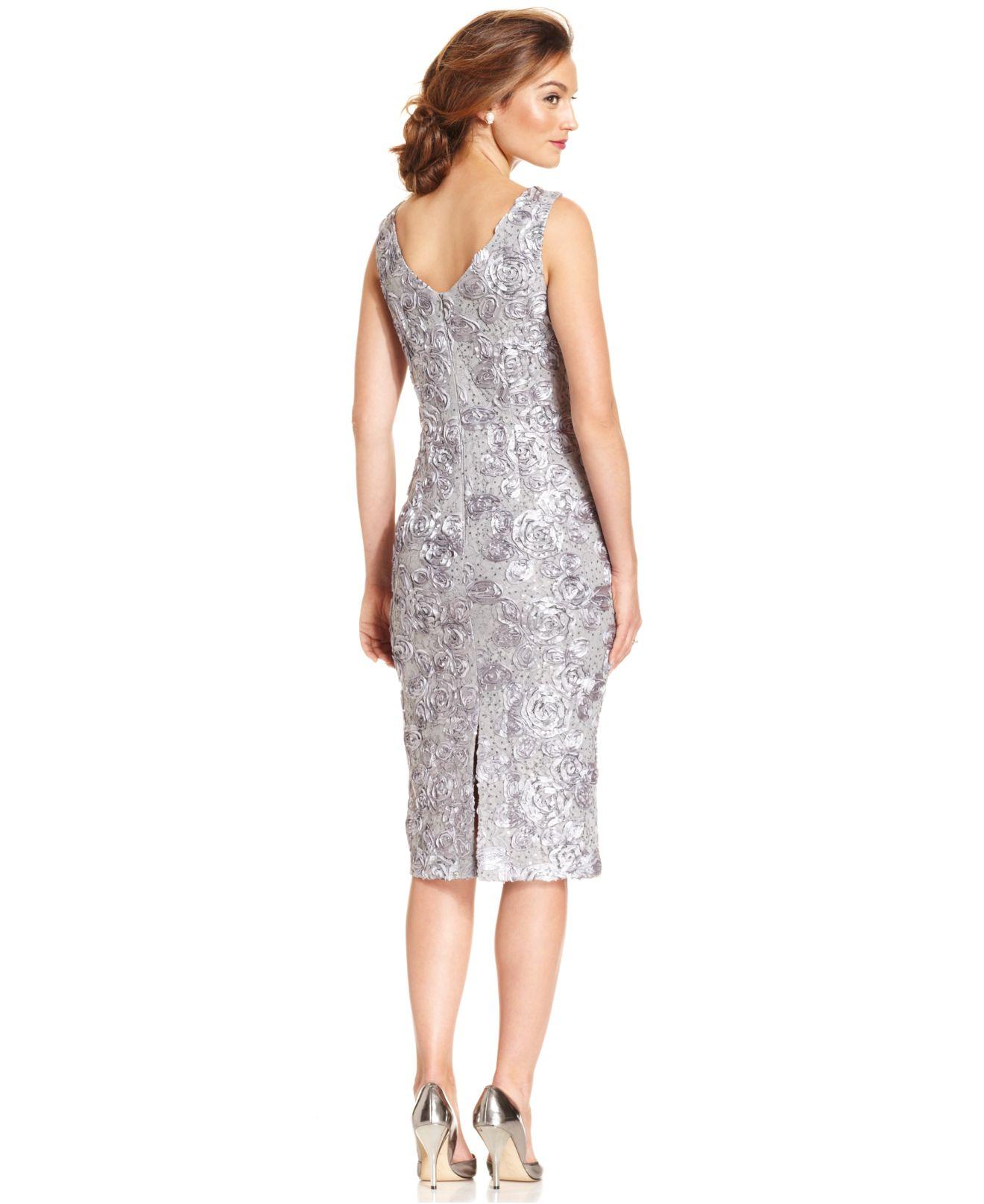 e583437b Alex Evenings Soutache Sequin Lace Midi Dress And Jacket - Lyst