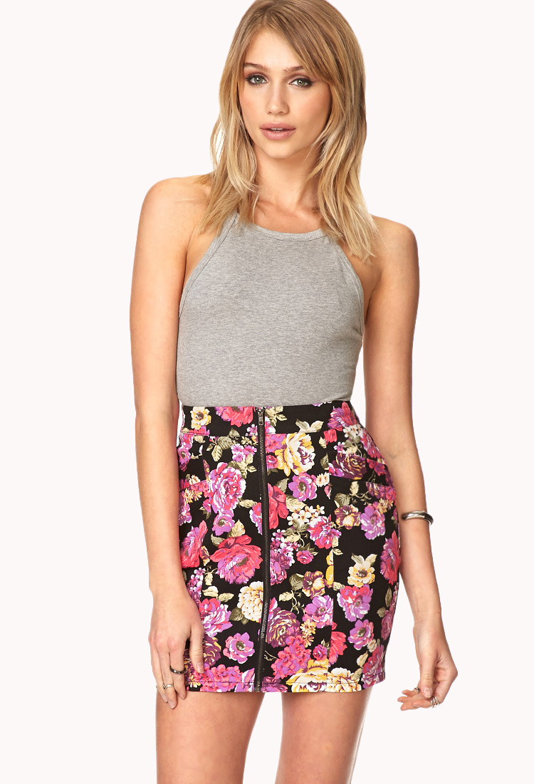 Forever 21 Throwback Floral Mini Skirt in Pink | Lyst