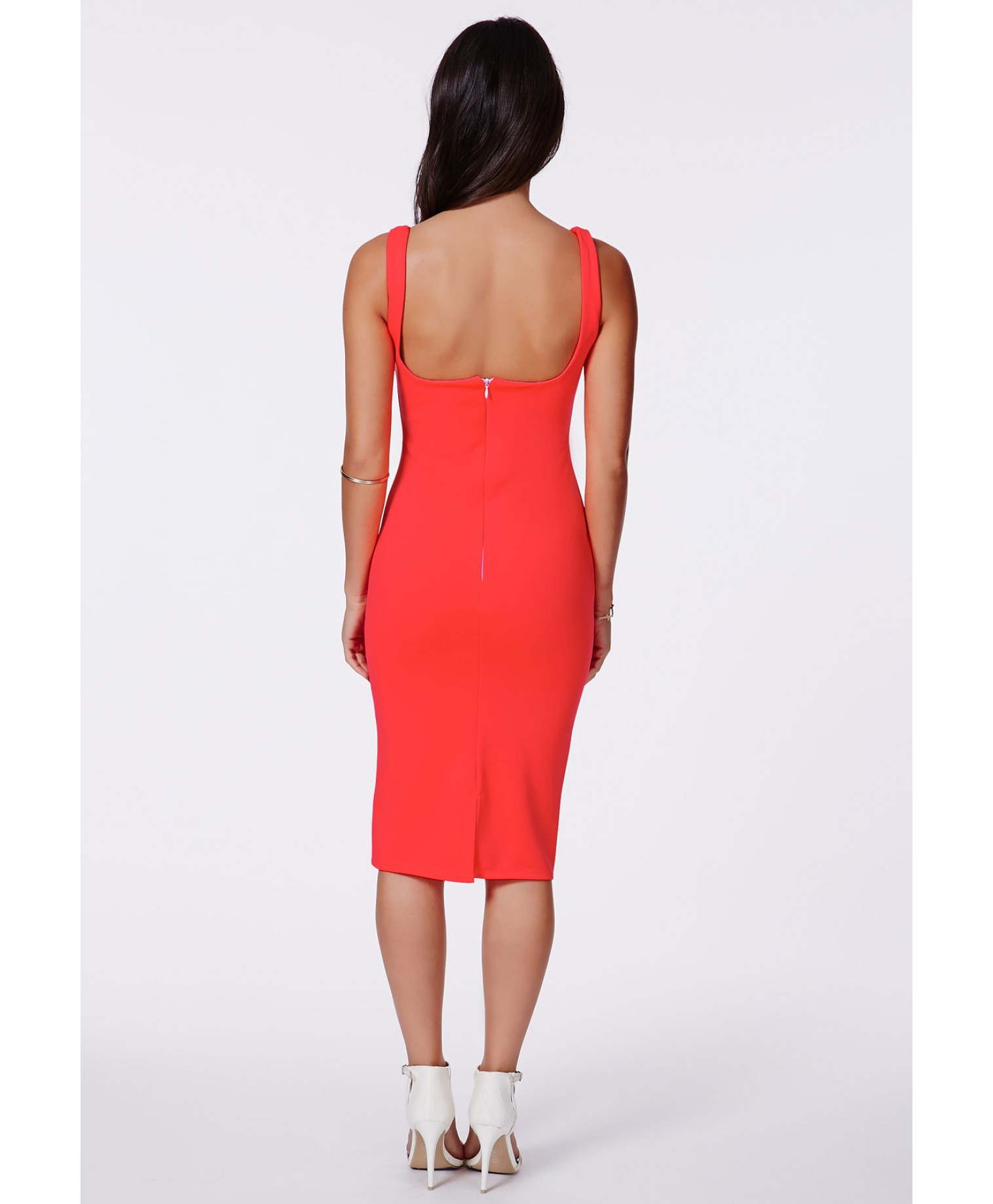 Neon Orange Strapless Dress