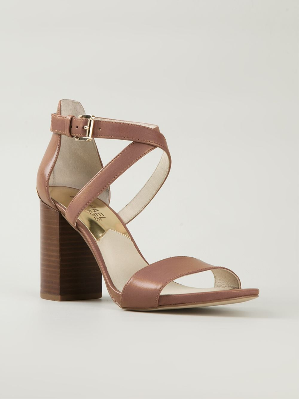 Brown Chunky Heel Sandals | Tsaa Heel