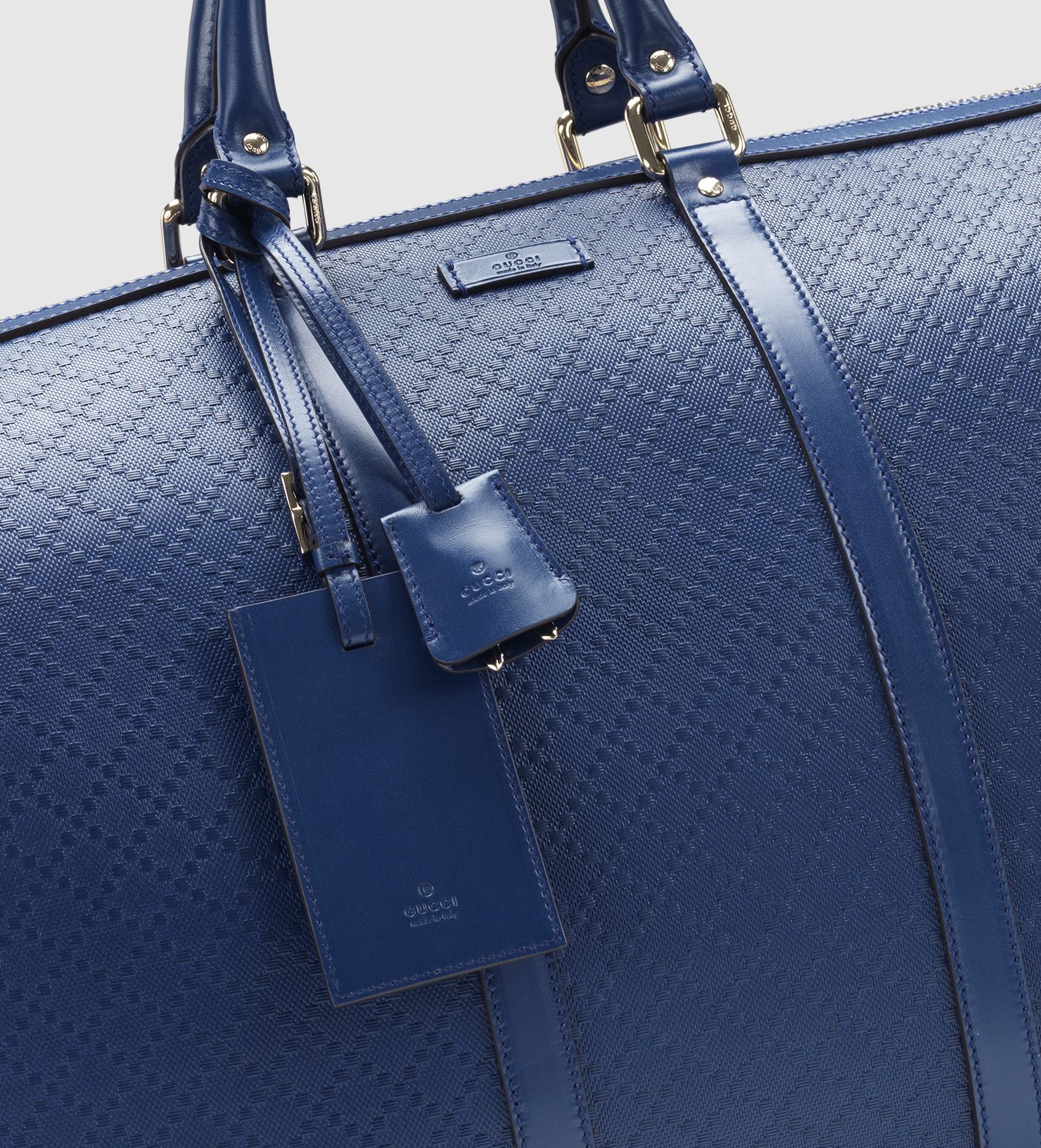 a060327693619e Gucci Bright Diamante Leather Carry-on Duffle Bag in Blue for Men - Lyst