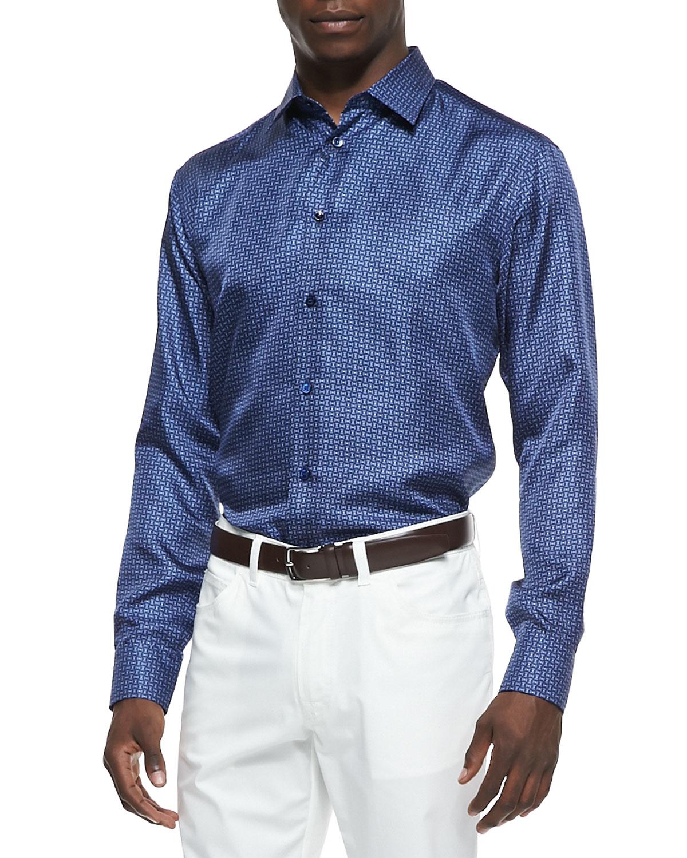 Lyst Brioni Mini Neat Silk Button Down Shirt In Blue For Men