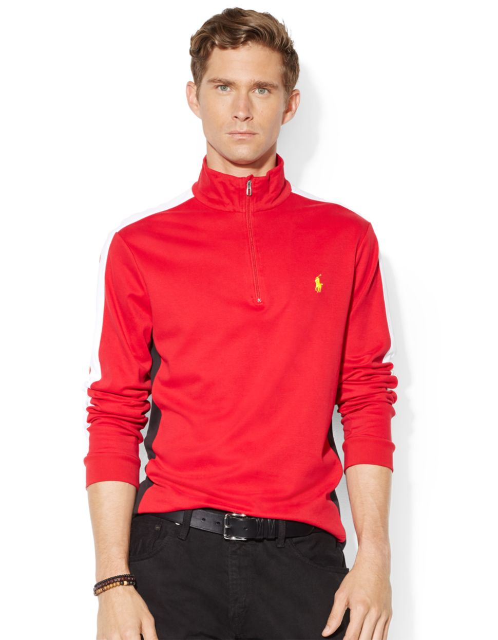 polo ralph lauren color blocked pima pullover in red for. Black Bedroom Furniture Sets. Home Design Ideas