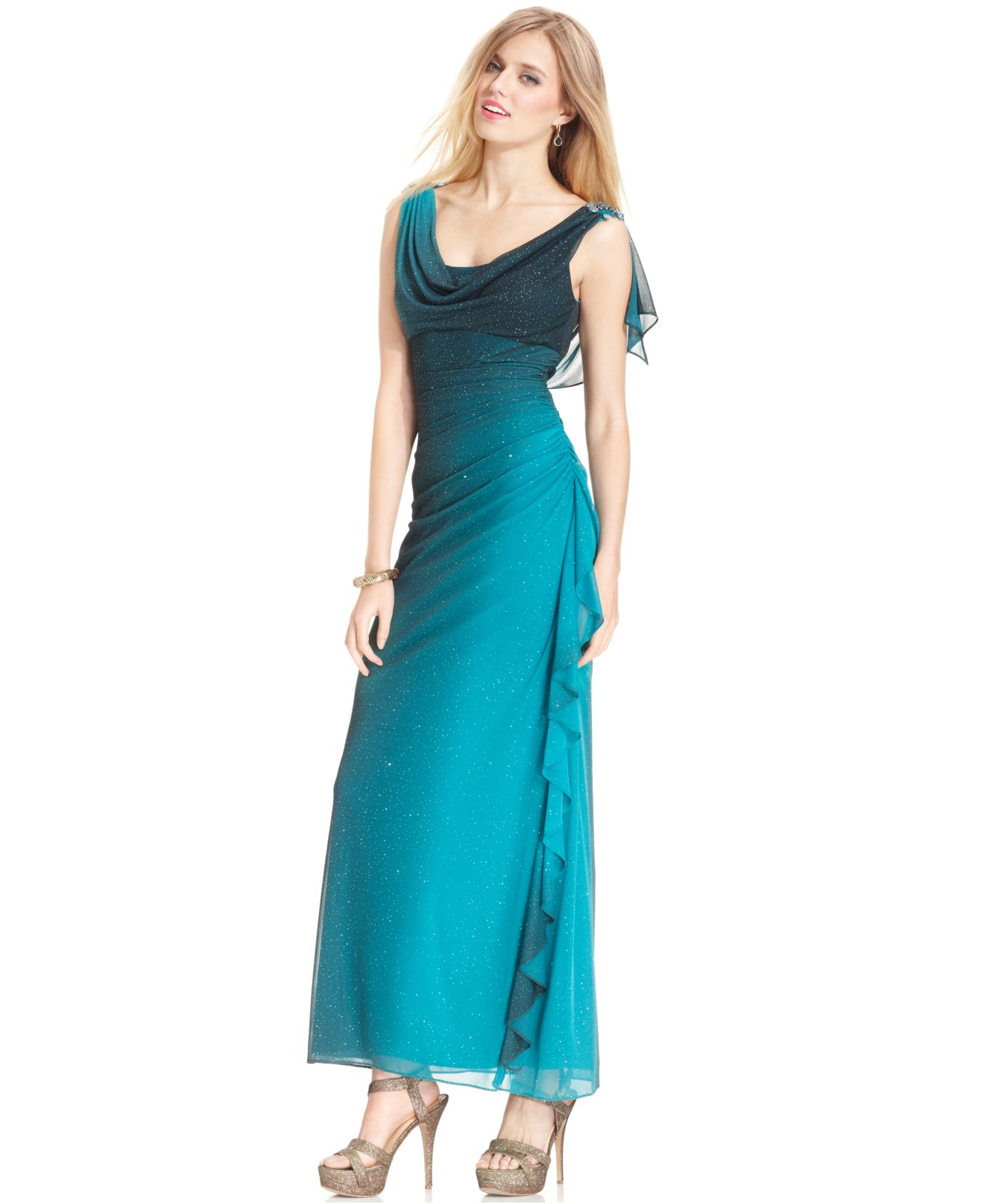 Lyst Betsy Amp Adam Draped Ombre Sparkle Gown In Green