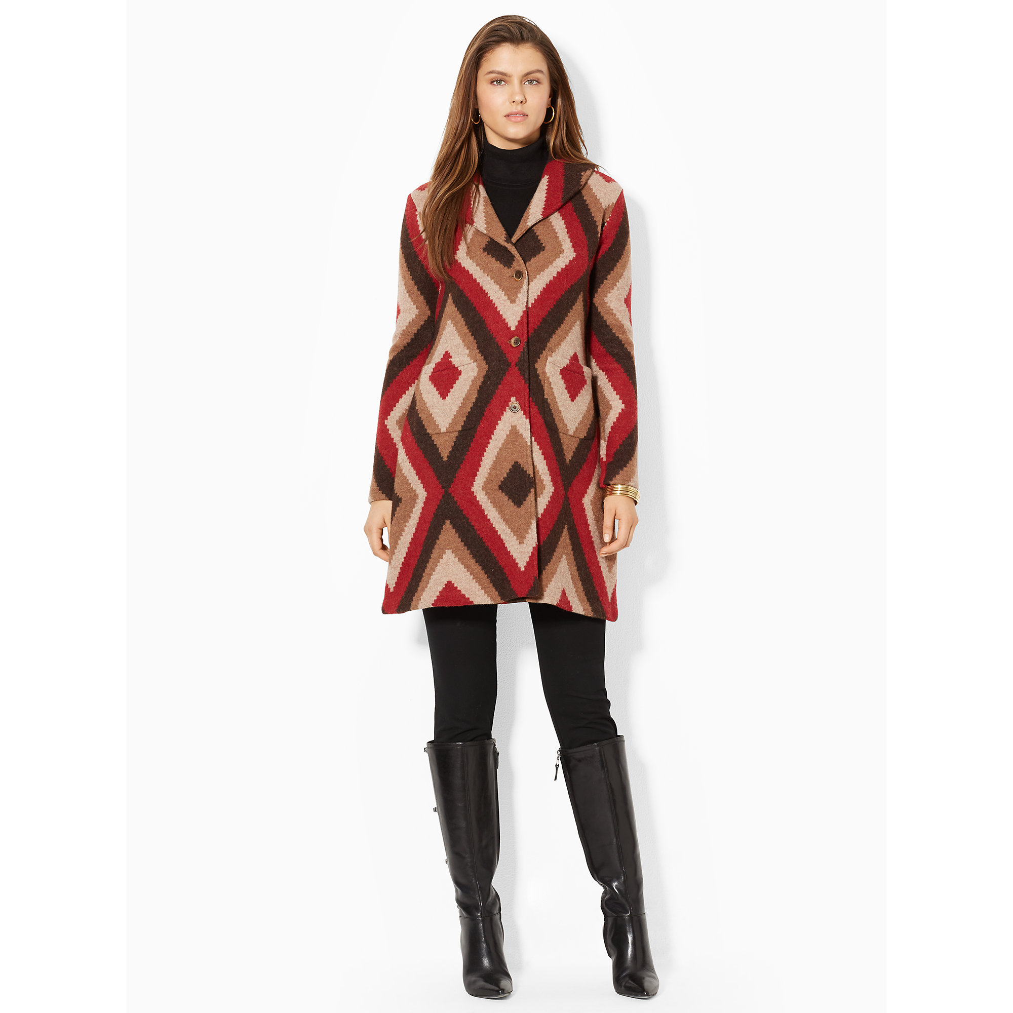 Lauren by ralph lauren red shawl collar sweater coat lyst