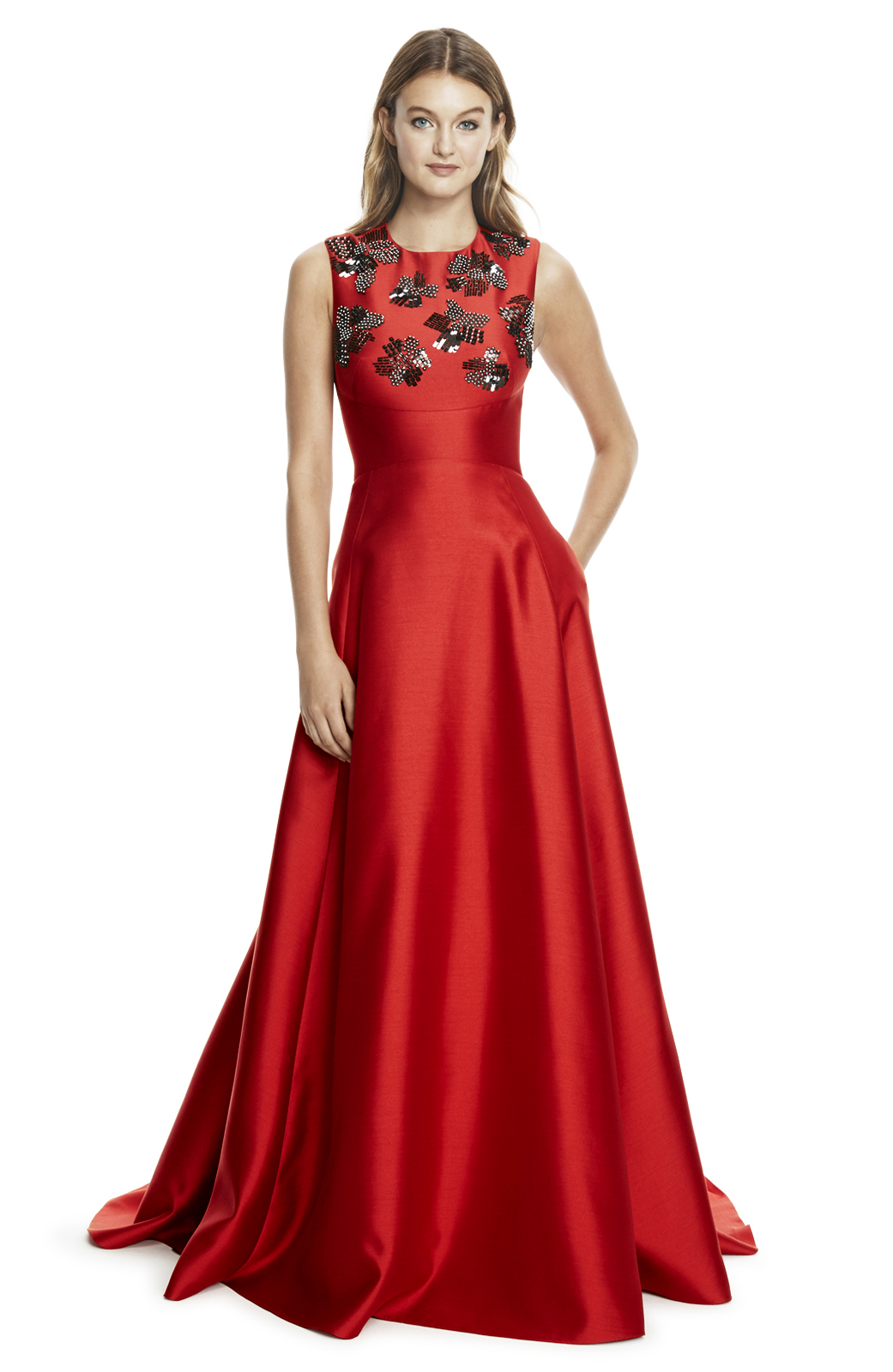 Lyst - Lela Rose Silk And Wool Embroidered Gown in Red