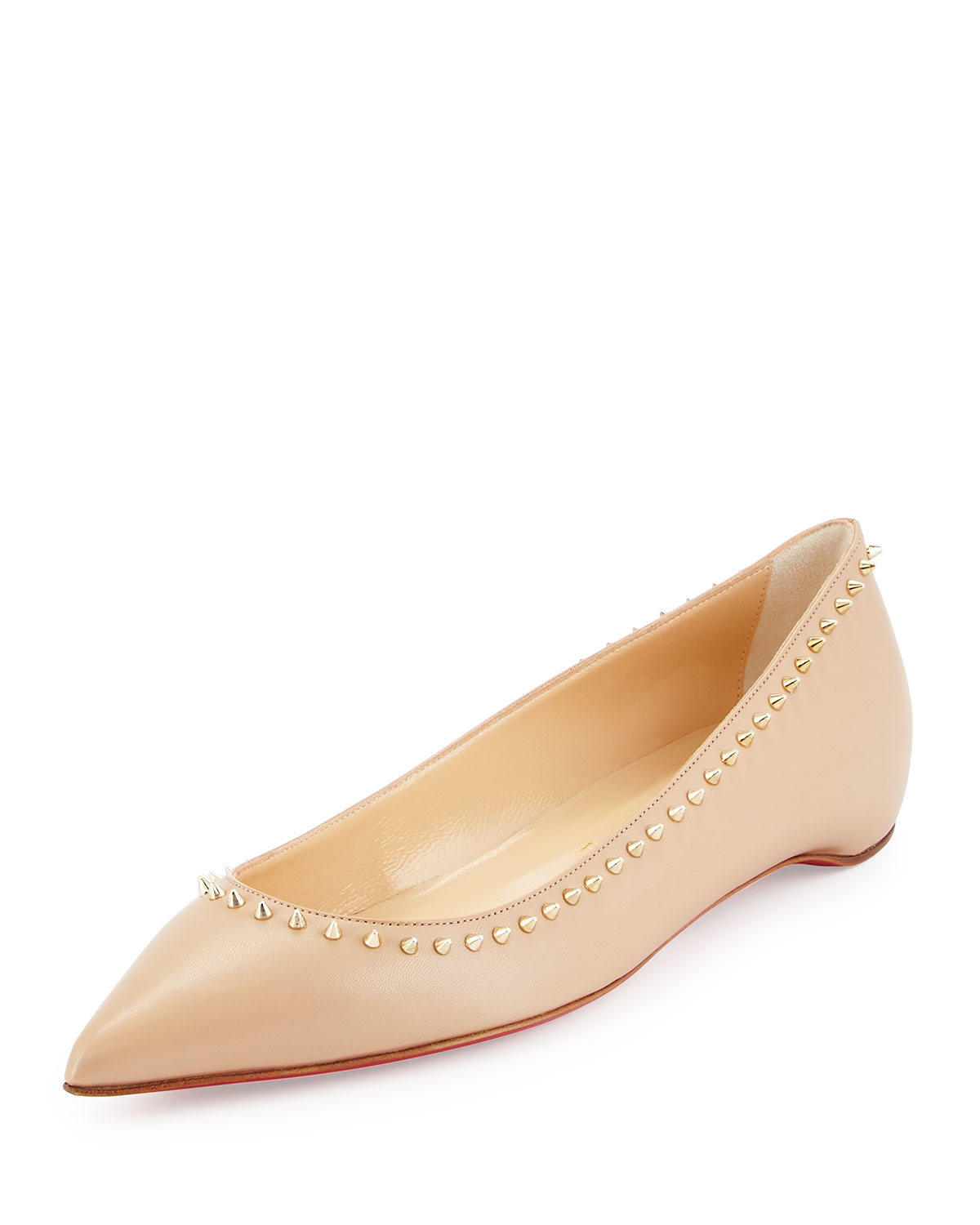 29ae3d96c Christian Louboutin Anjalina Studded Leather Ballet Flats in Natural ...