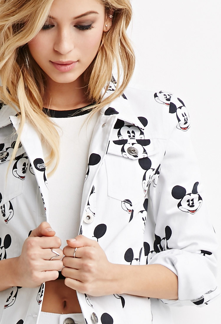 Lyst Forever 21 Mickey Mouse Denim Jacket In White