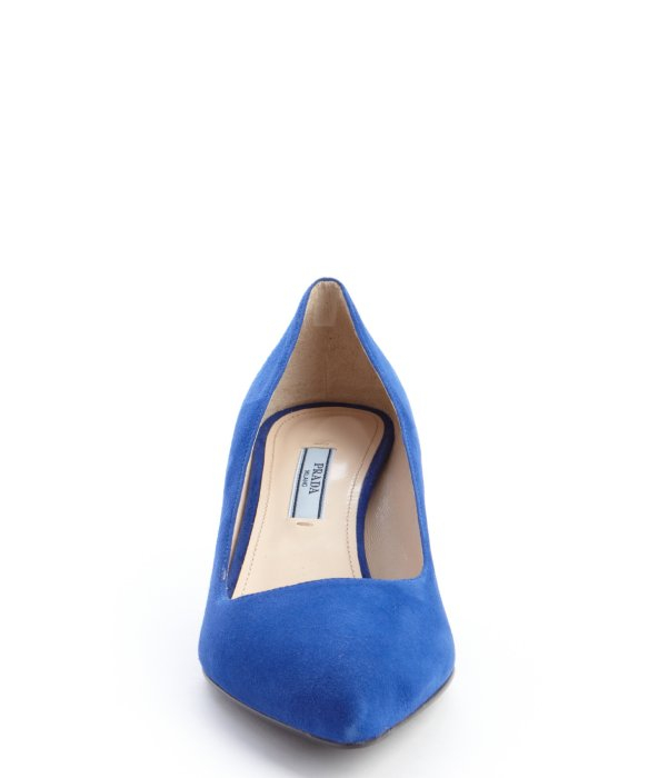 Lyst - Prada Blue Suede Pointed Toe Kitten Heel Pumps in Blue