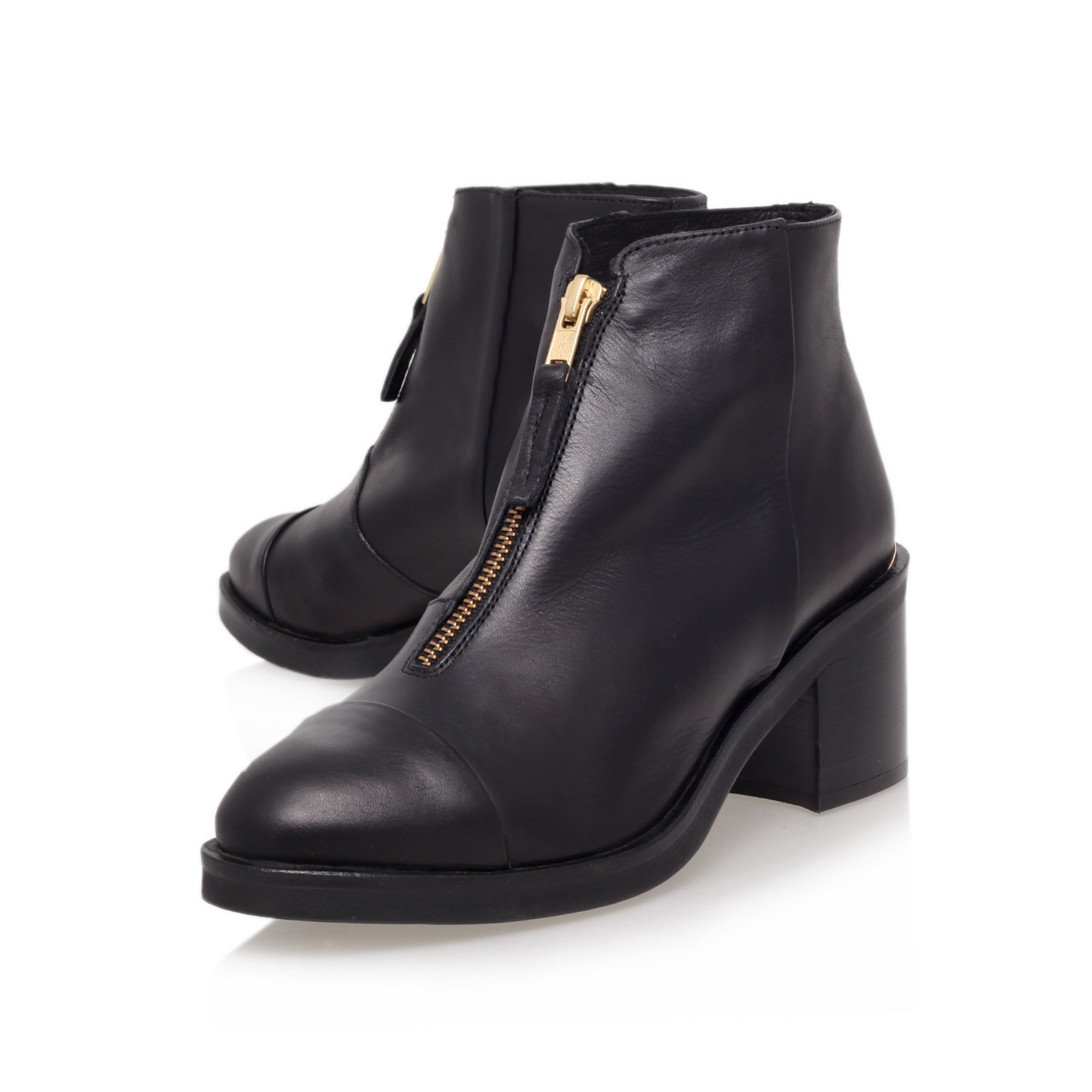 Kg By Kurt Geiger Spencer Leather Front Zip Ankle Boots In