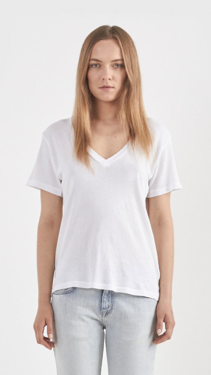 Lyst current elliott the v neck cotton t shirt in white for White t shirt v neck