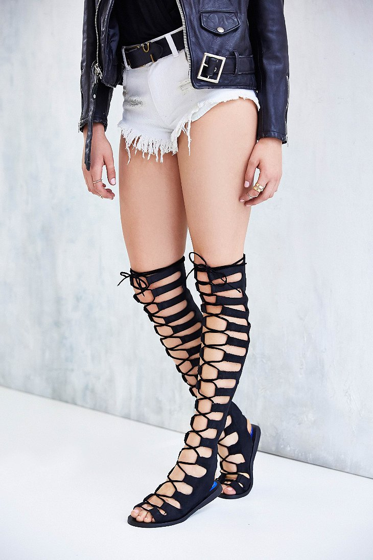25e45b383c65 Lyst - Jeffrey Campbell Olympus Overtheknee Caged Sandal in Black