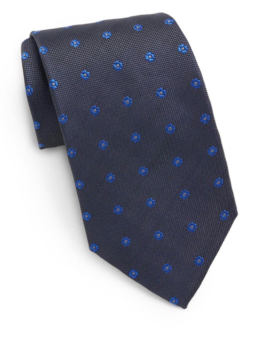 Lyst saint laurent floral embroidered silk tie in blue