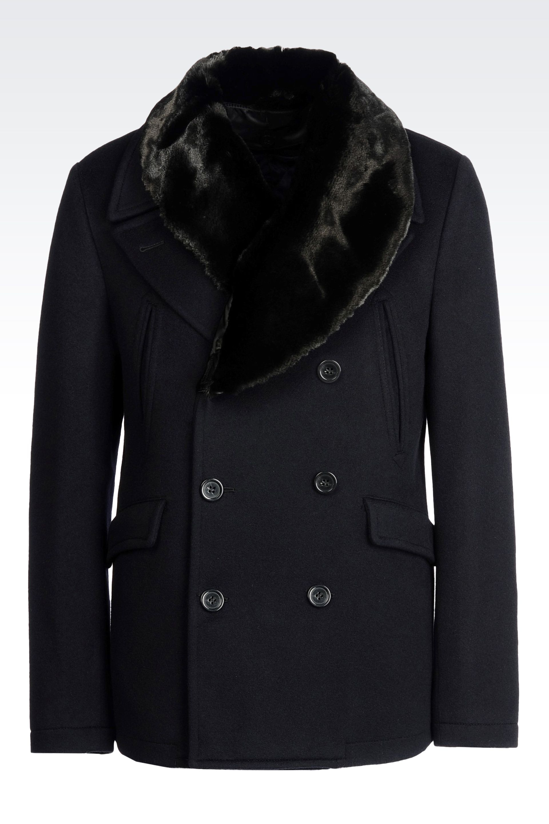 Bleu Double Breasted Giorgio Armani Trimmed Coat Fur I6qzwx